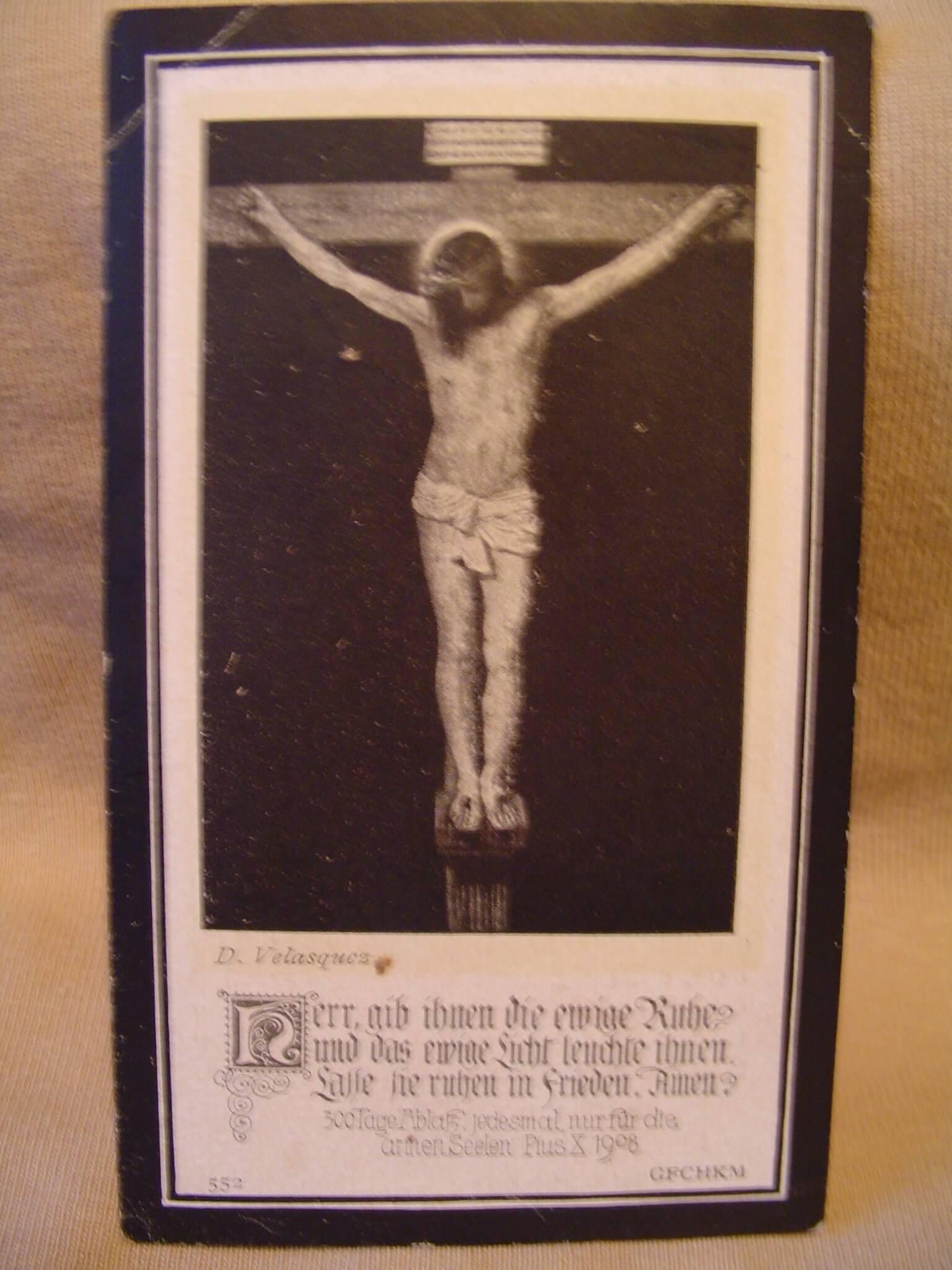 Duits bidprentje uit 1918. van een gesneuvelde soldaat uit de eerste wereldoorlog.