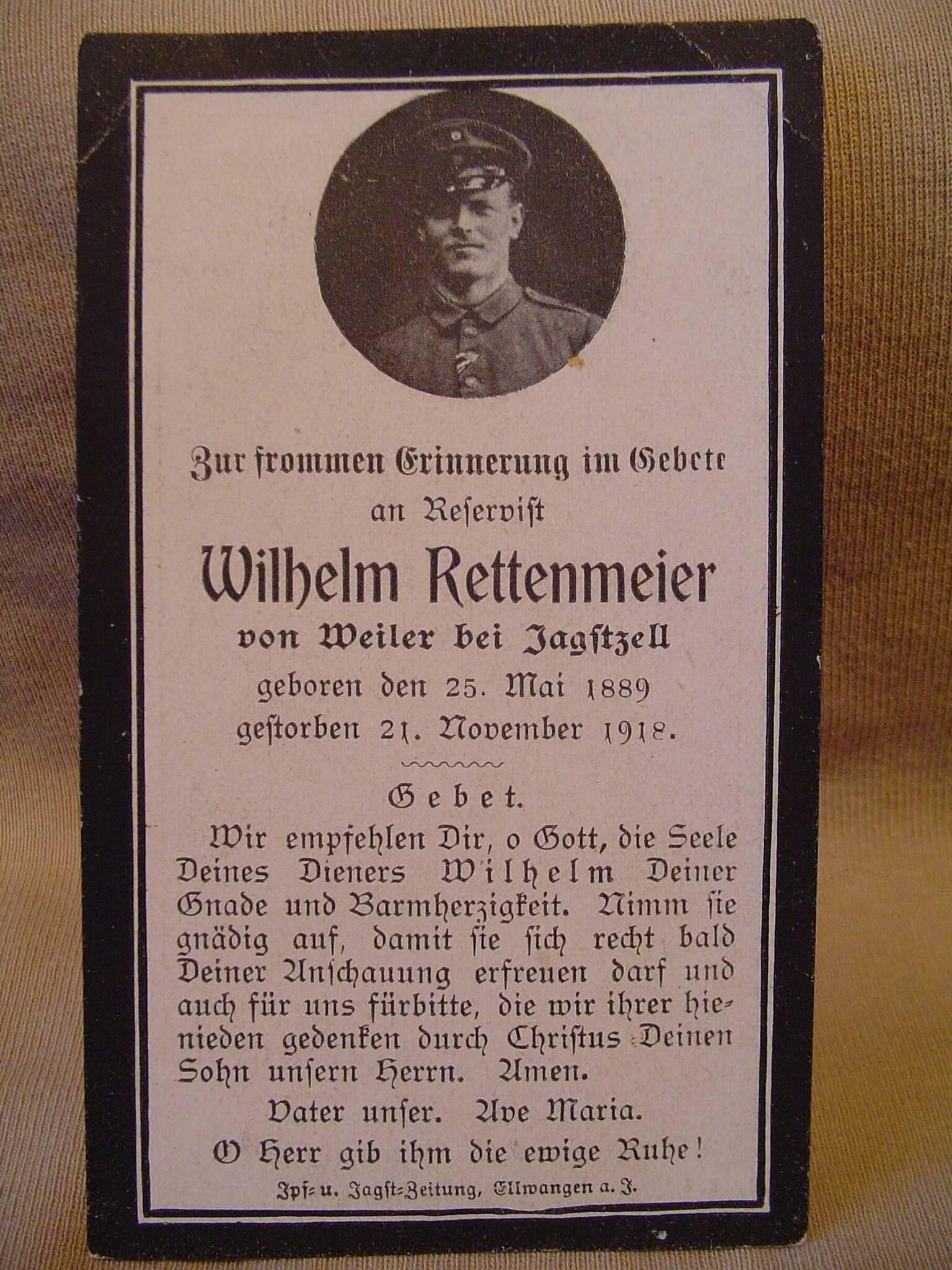 Duits bidprentje uit 1918 Duitse gesneuvelde soldaat