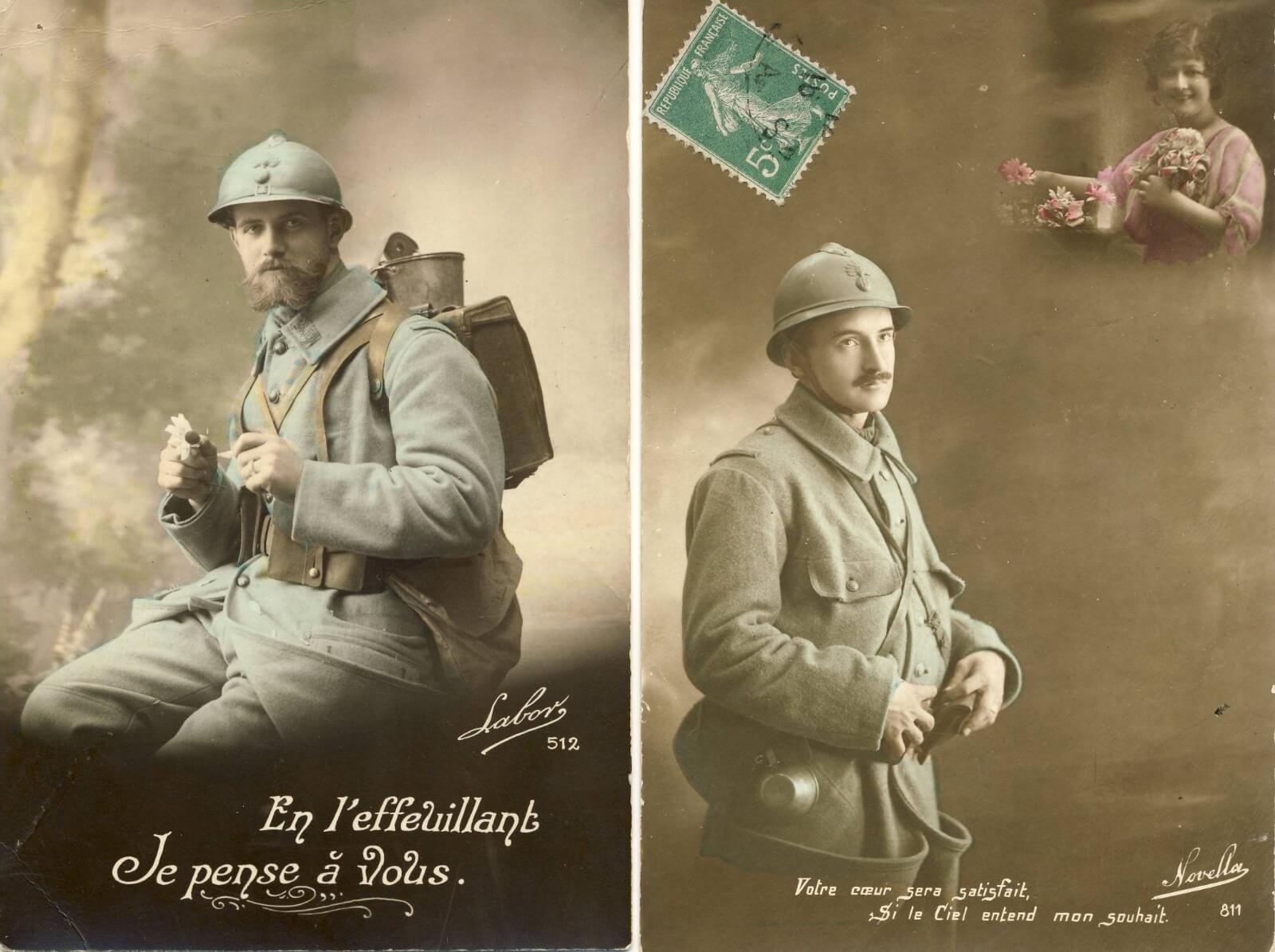 Franse postkaarten Eerste wereldoorlog wo1 soldaat in frans uniform