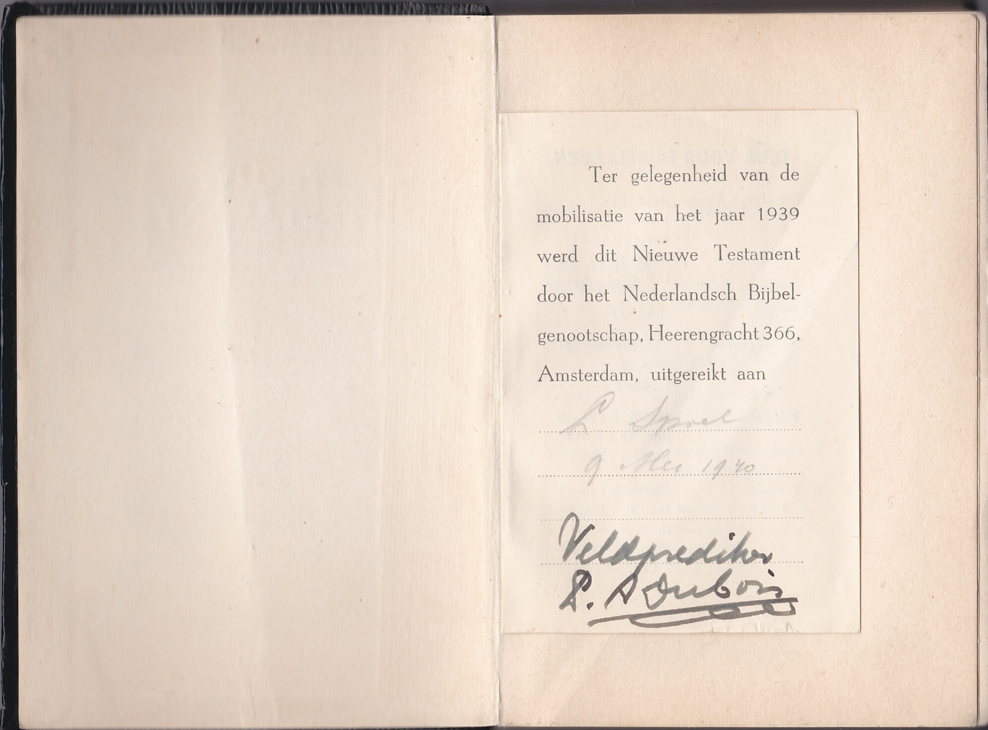 Bijbel mobilisatie 1940 veldprediker A. Dubois
