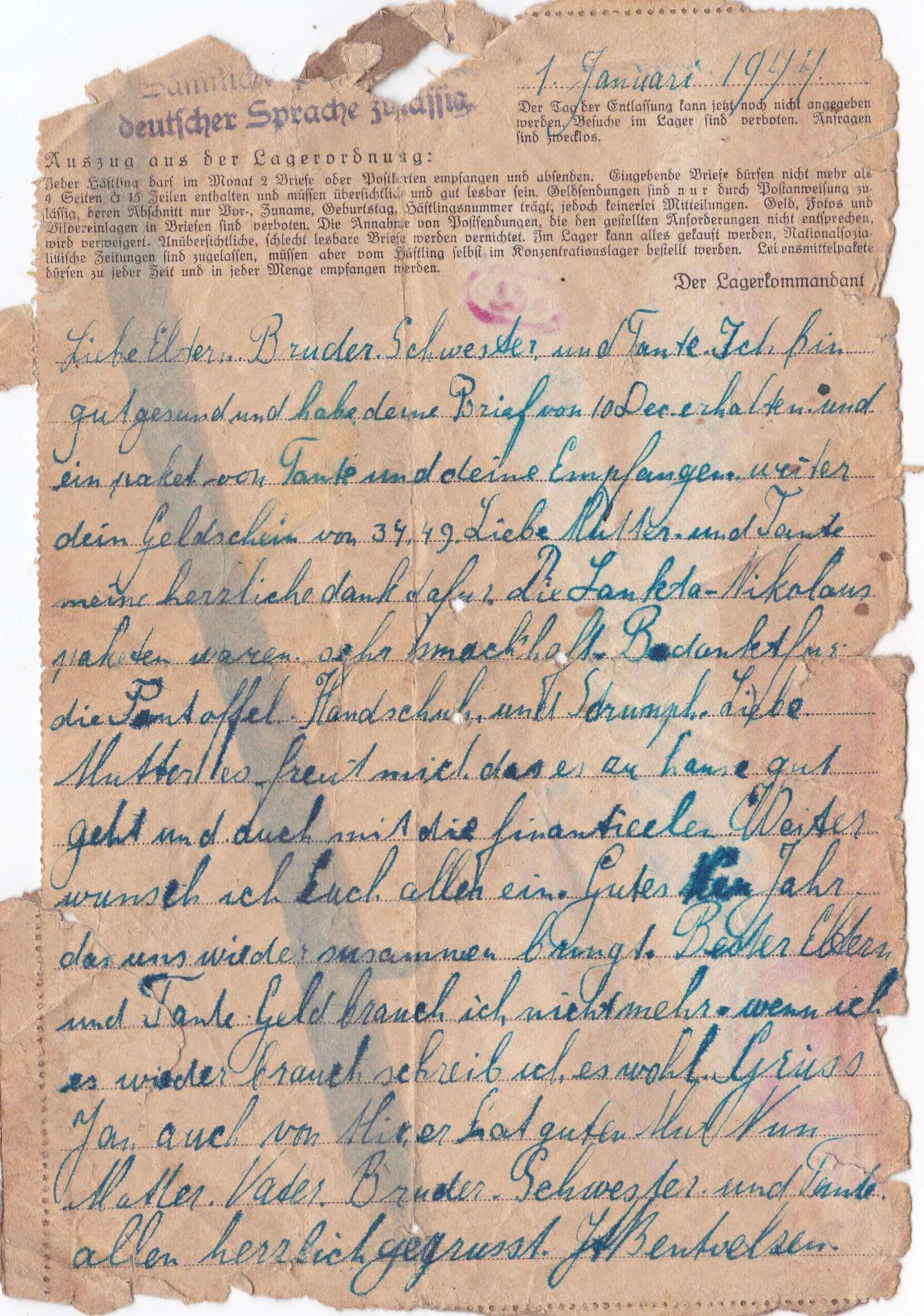 Concentratiekamp brieven Neuengamme 1-1-1944