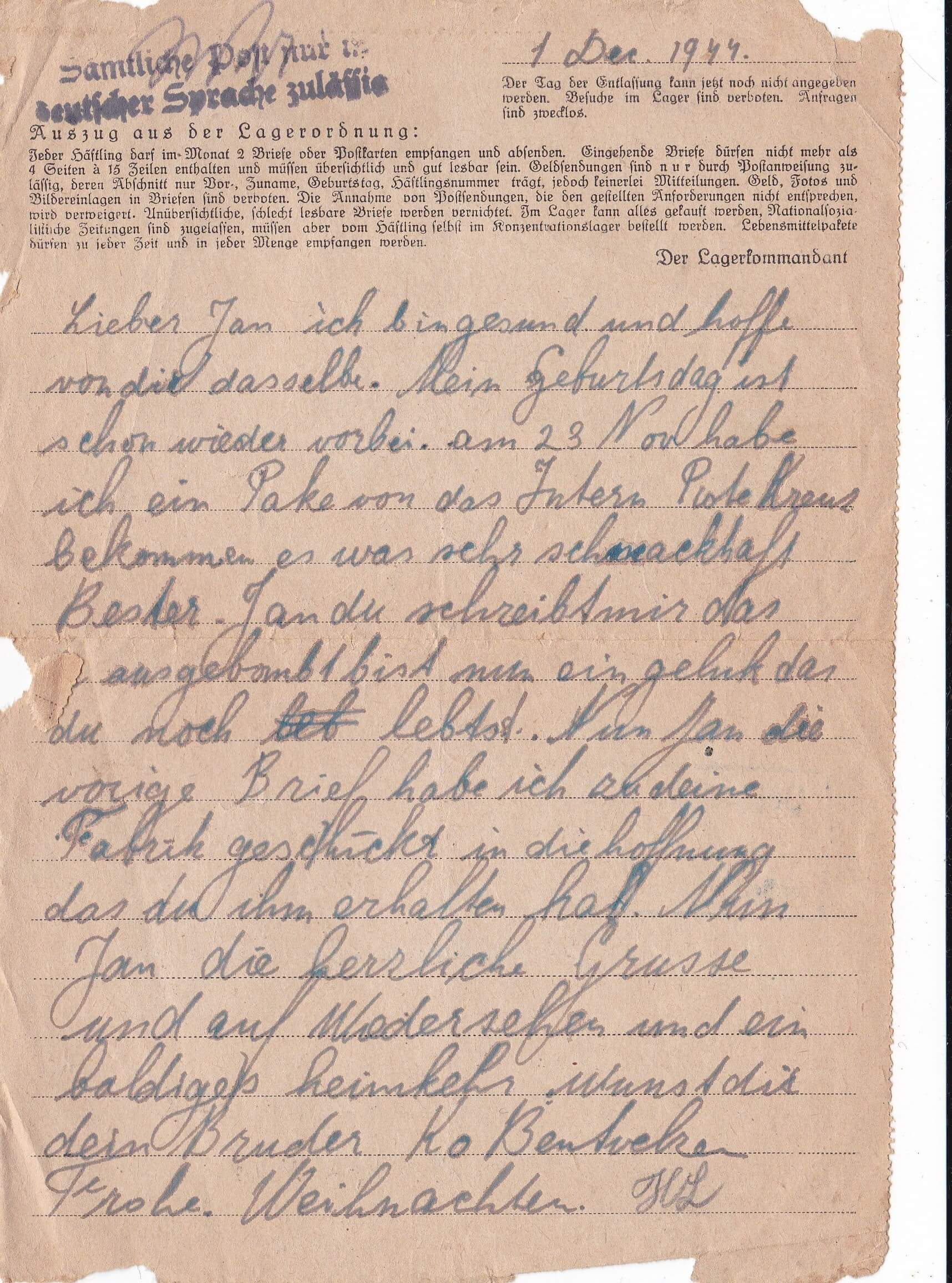 Concentratiekamp brieven Neuengamme 1-12-1944
