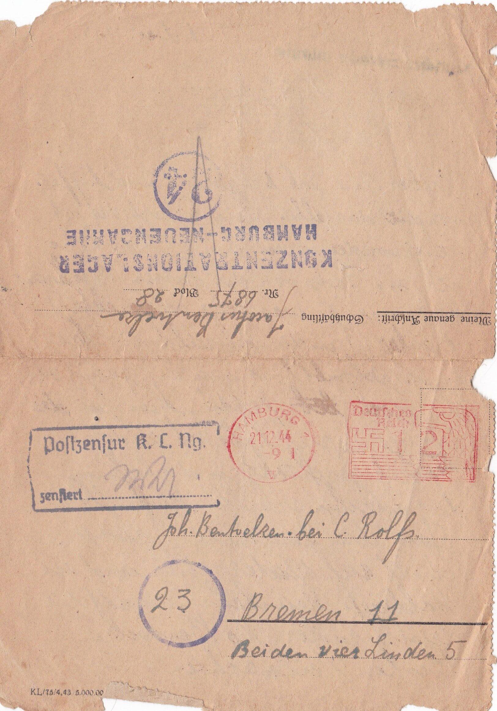 Concentratiekamp brieven Neuengamme
