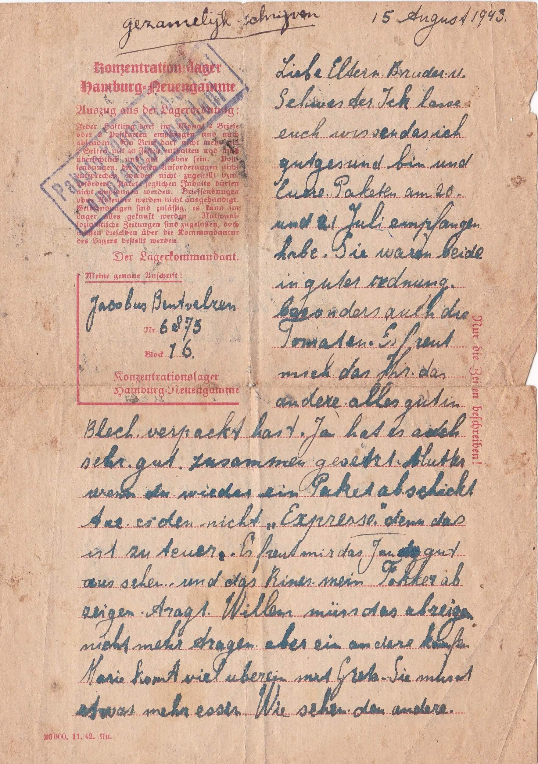 Concentratiekamp brieven Neuengamme 15-08-1943