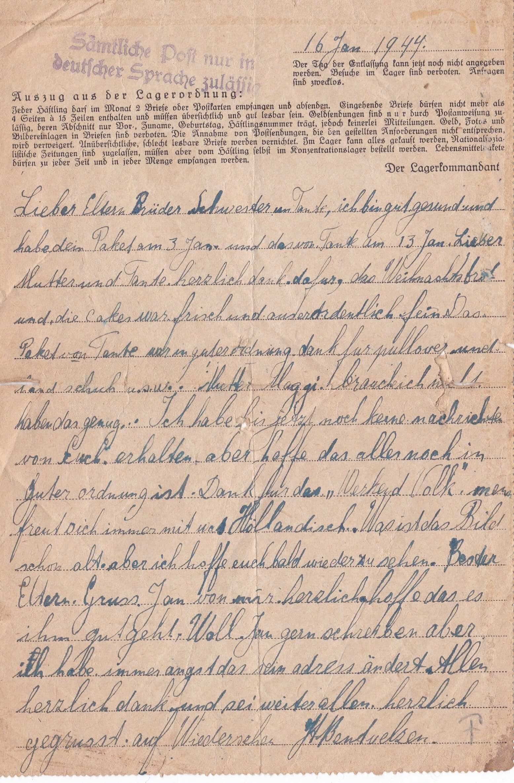 Concentratiekamp brieven Neuengamme 16-01-1944