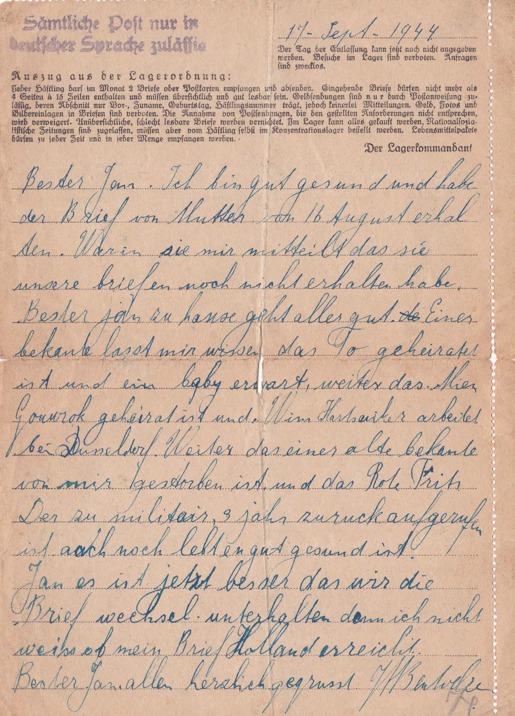 Concentratiekamp brieven Neuengamme 17-09-1944