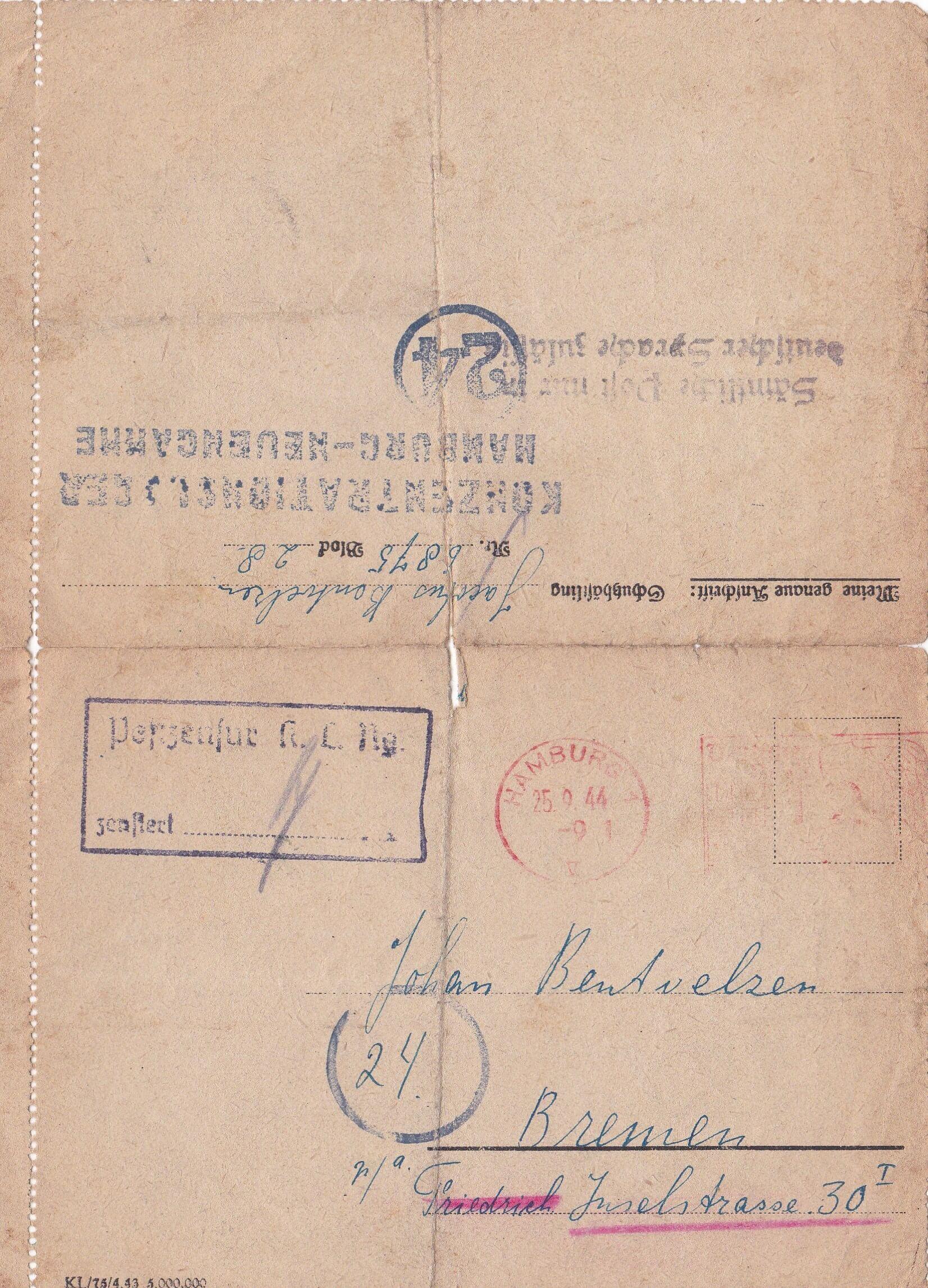 Concentratiekamp brieven Neuengamme wo2