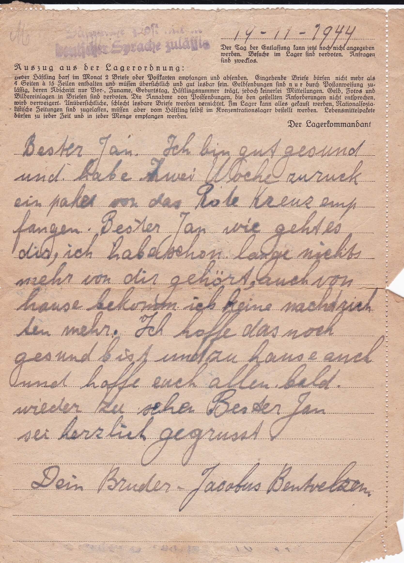 Concentratiekamp brieven Neuengamme 19-11-1944
