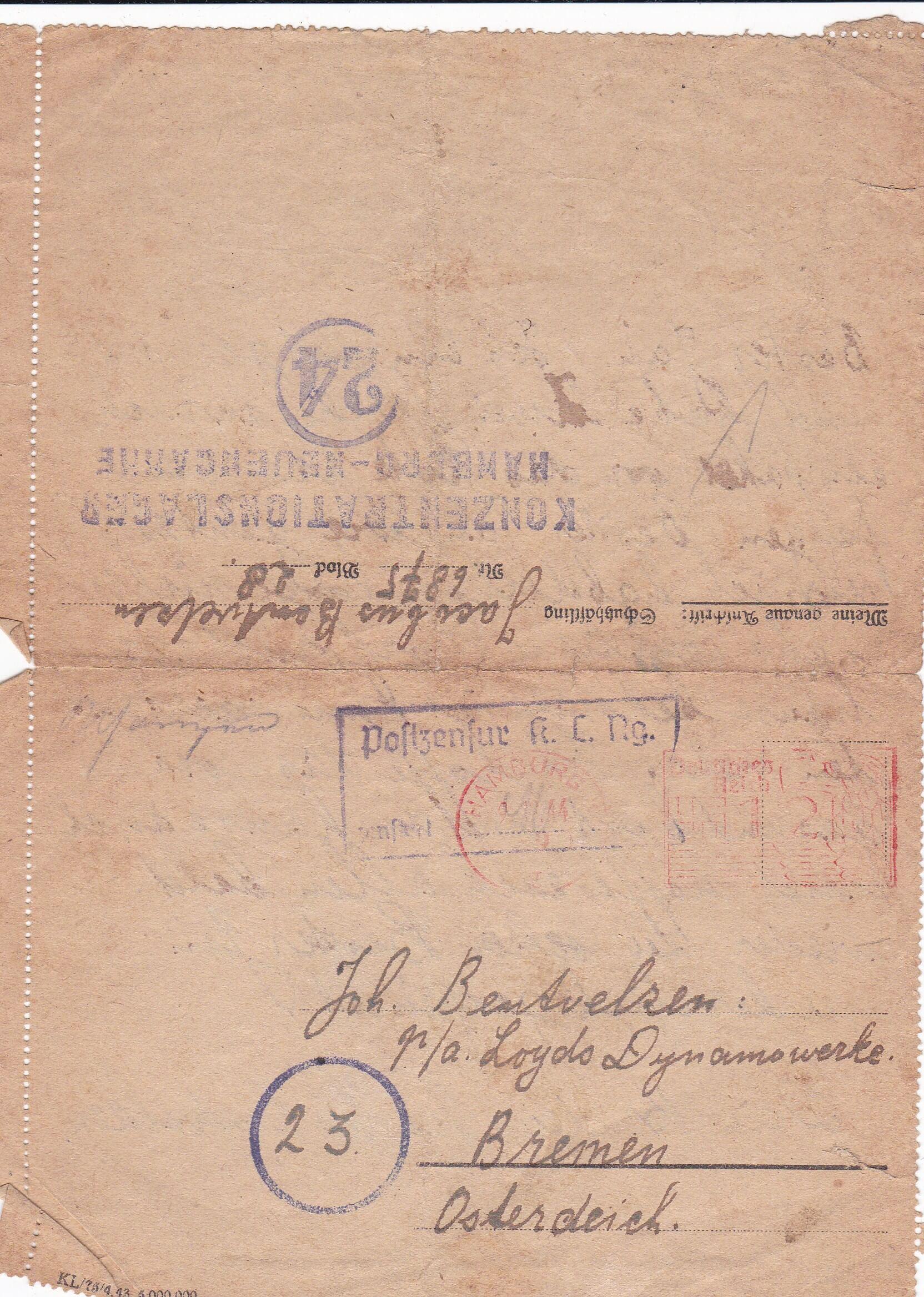 Concentratiekamp brieven Neuengamme de tweede wereldoorlog