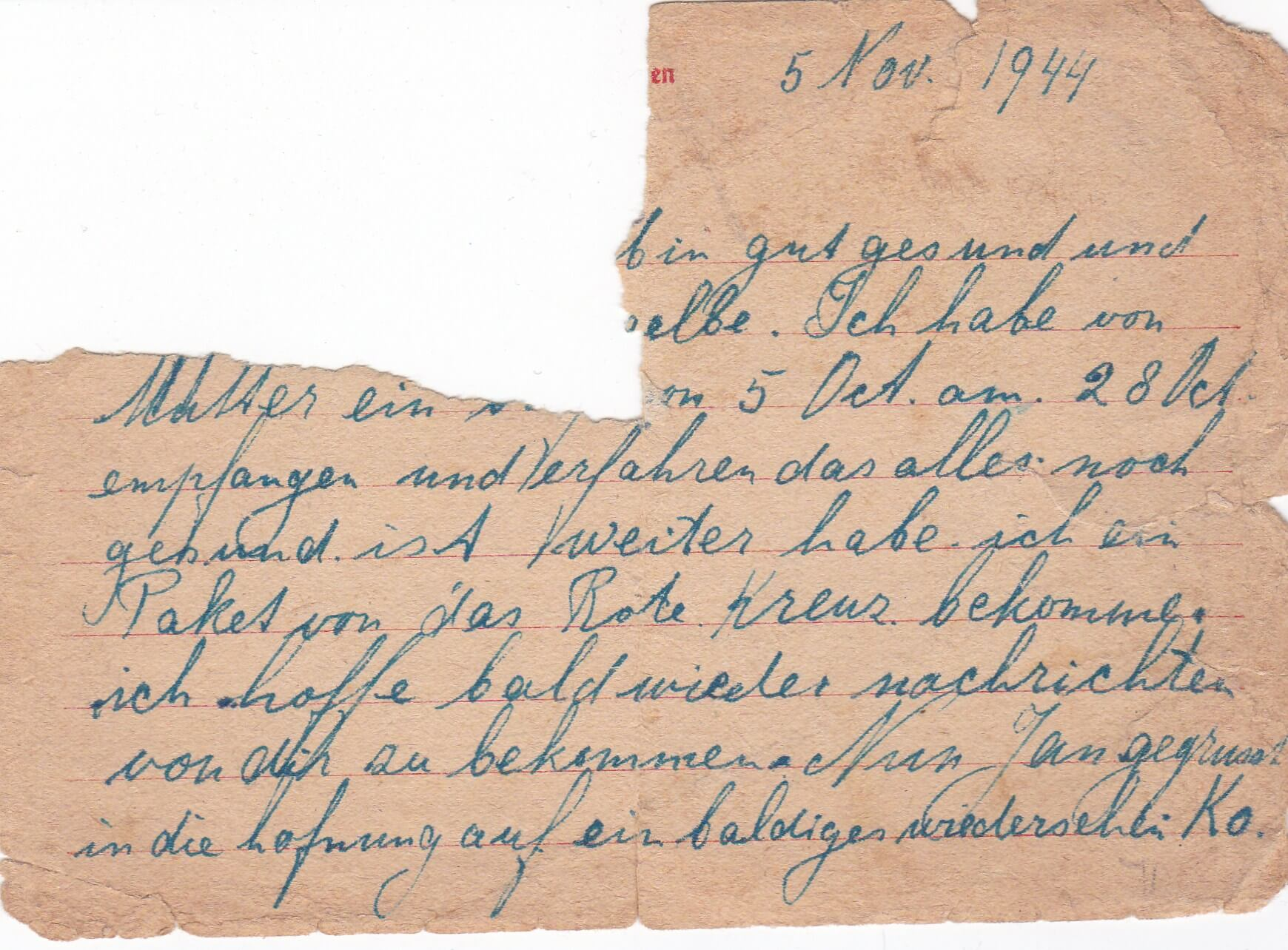 Concentratiekamp brieven Neuengamme 05-11-1944