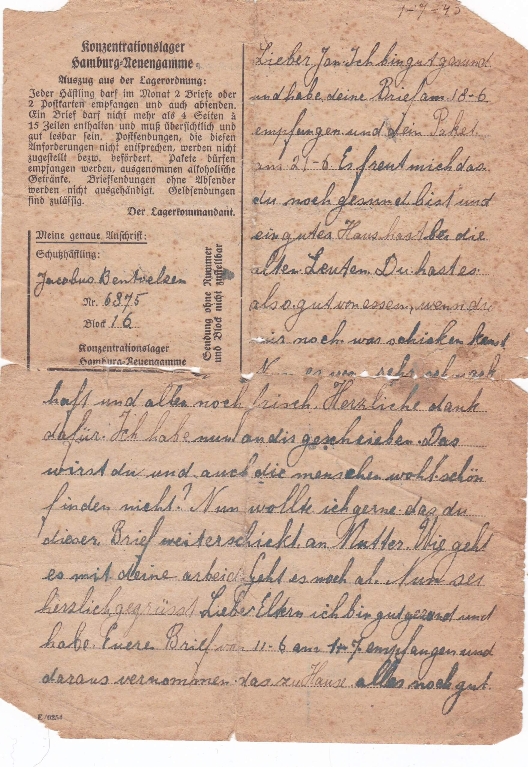 Concentratiekamp brieven Neuengamme 7-7-1943