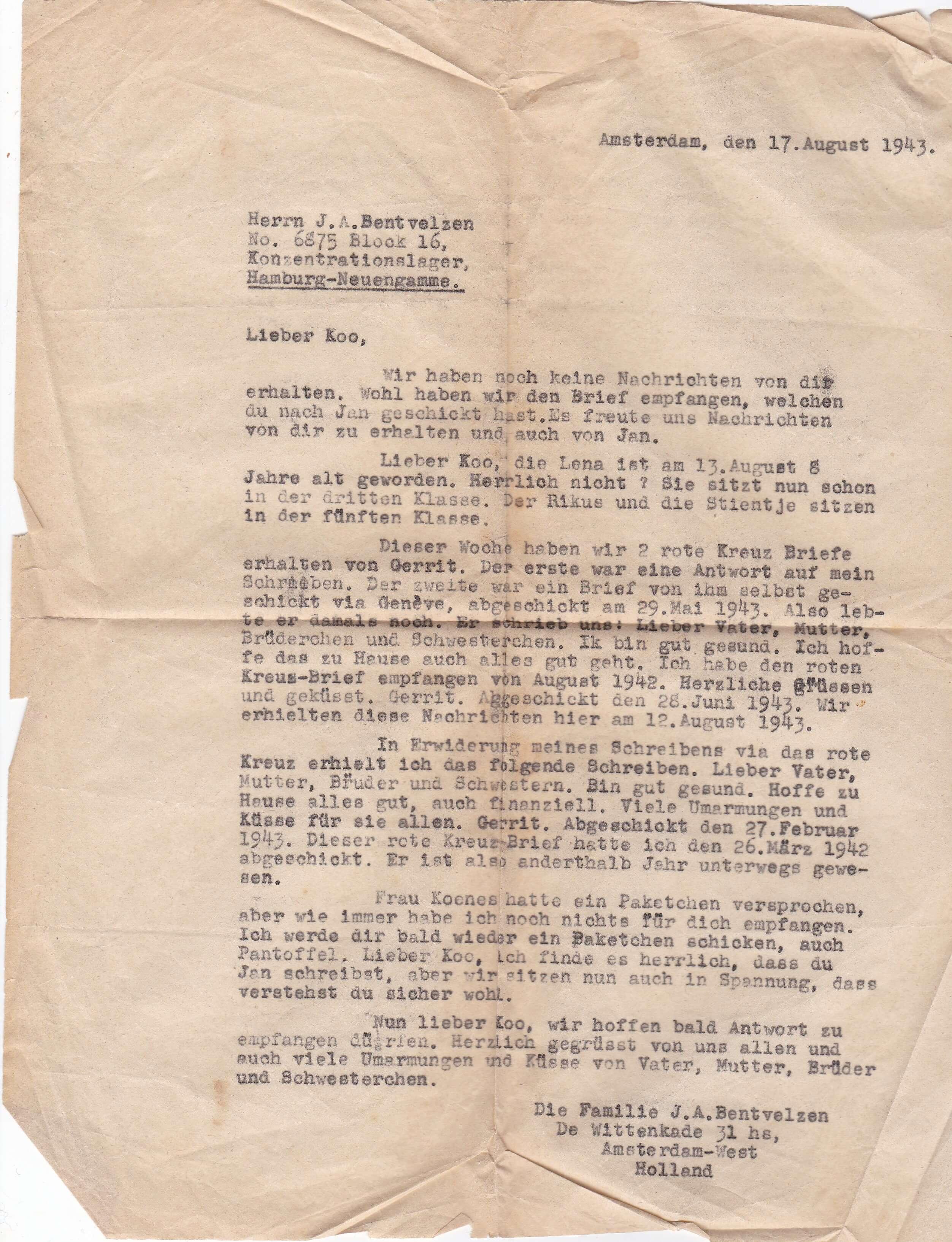 Brief concentratiekamp Neuengamme Wo2