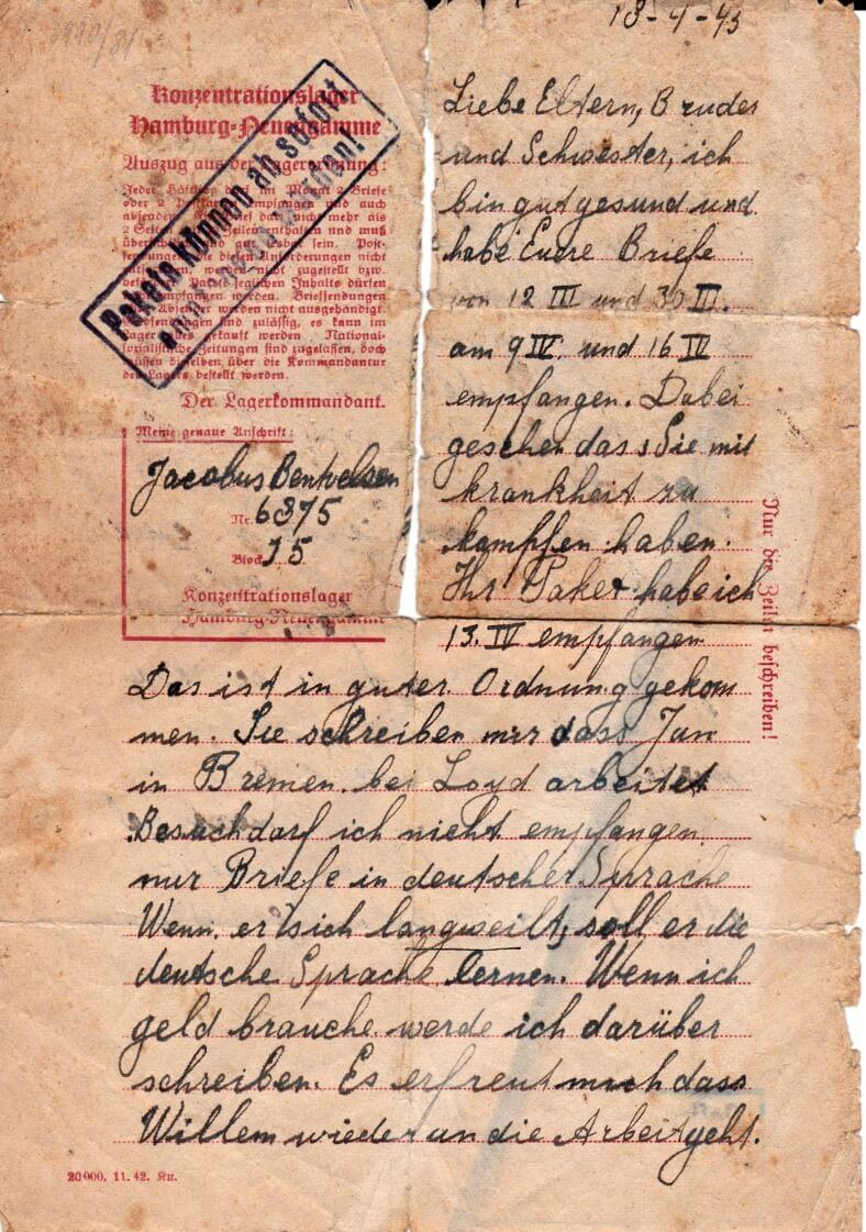 concentratiekamp brief