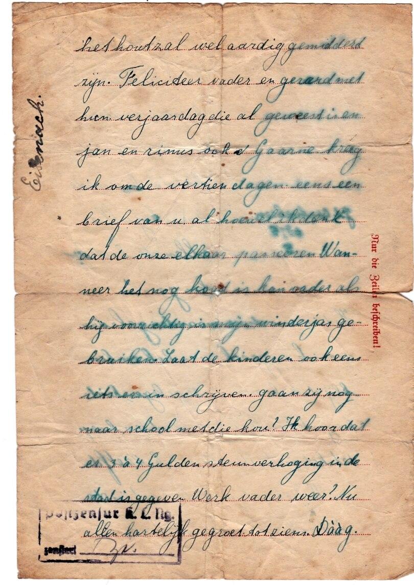 Brief uit concentratiekamp Neuengamme