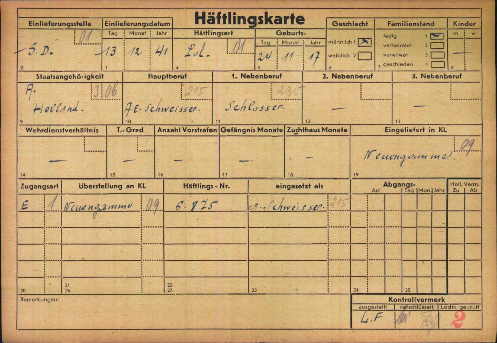 Jacobus Andries Bentvelzen haftlingkarte KZ Neuengamme