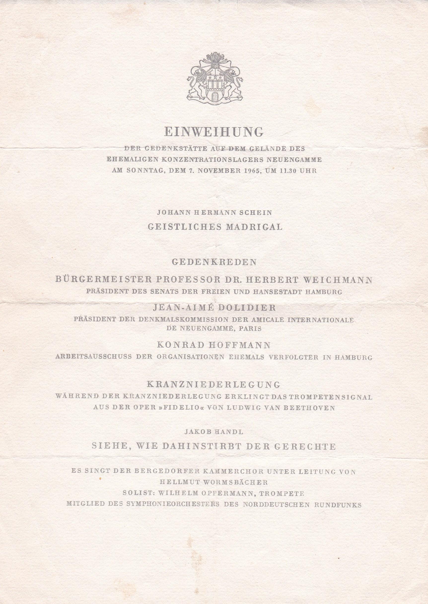 Einweihung monument KZ Neuengamme