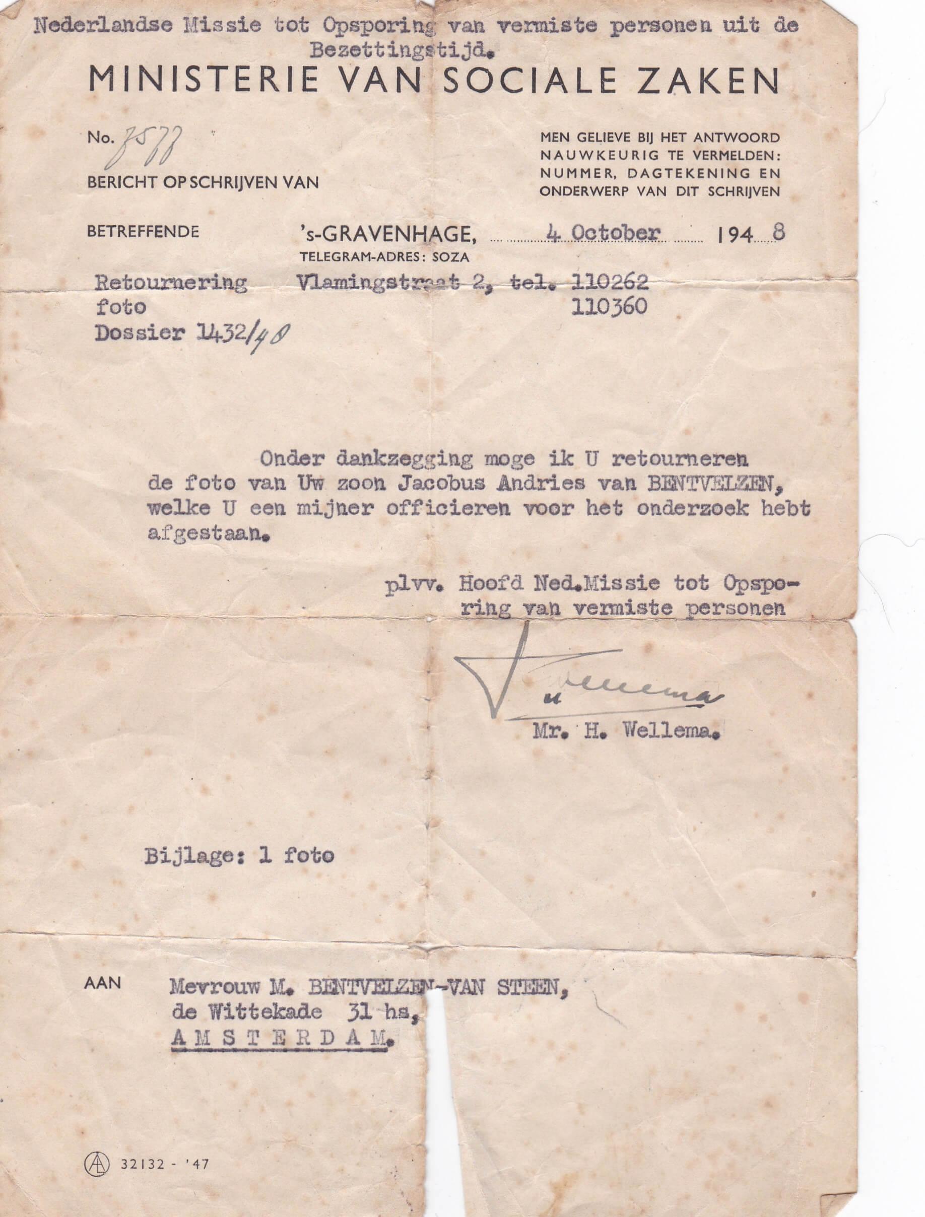 Nederlandse missie tot opsporing van vermiste personen uit de bezettingstijd
