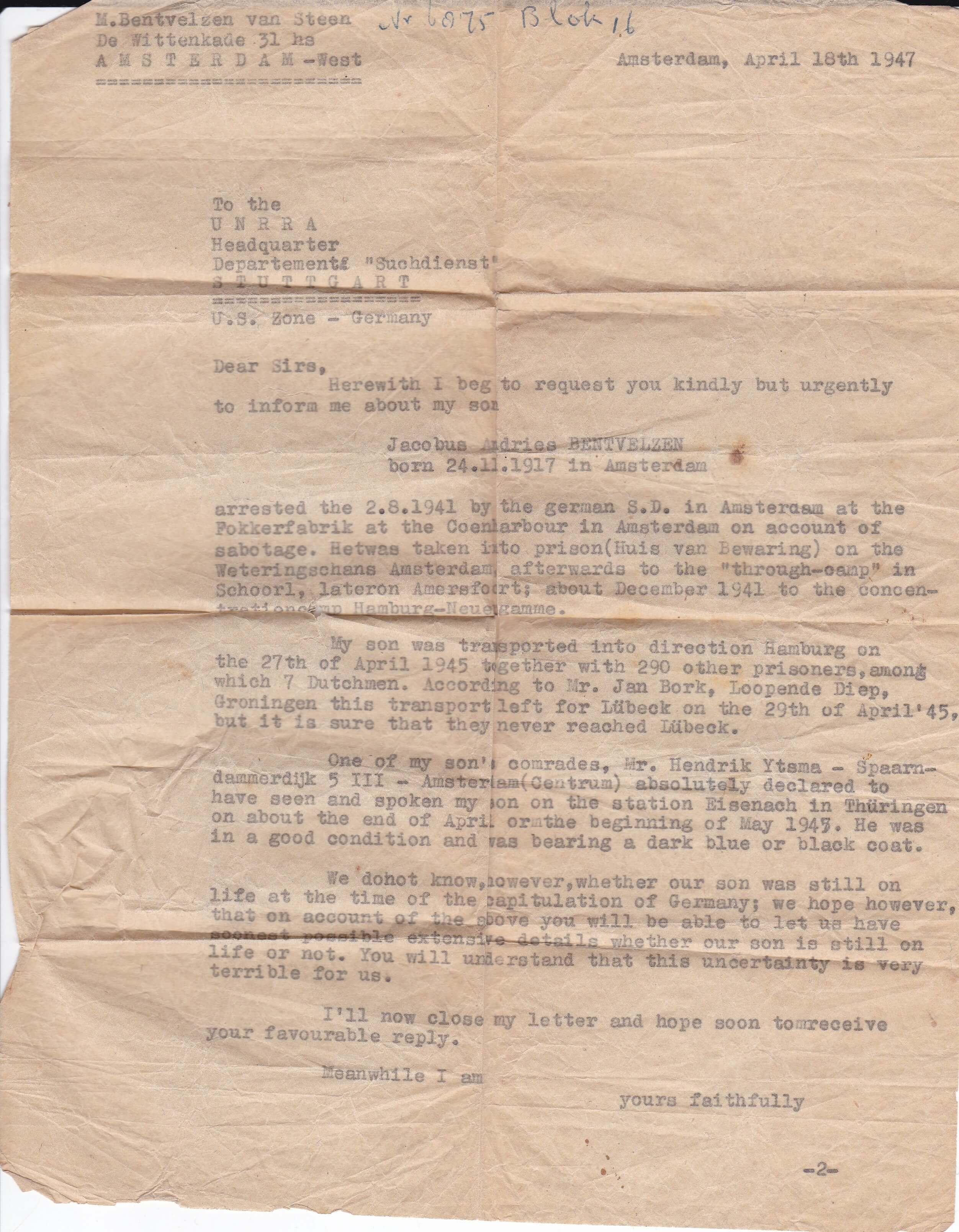 UNRRA Suchdienst 18-4-1947