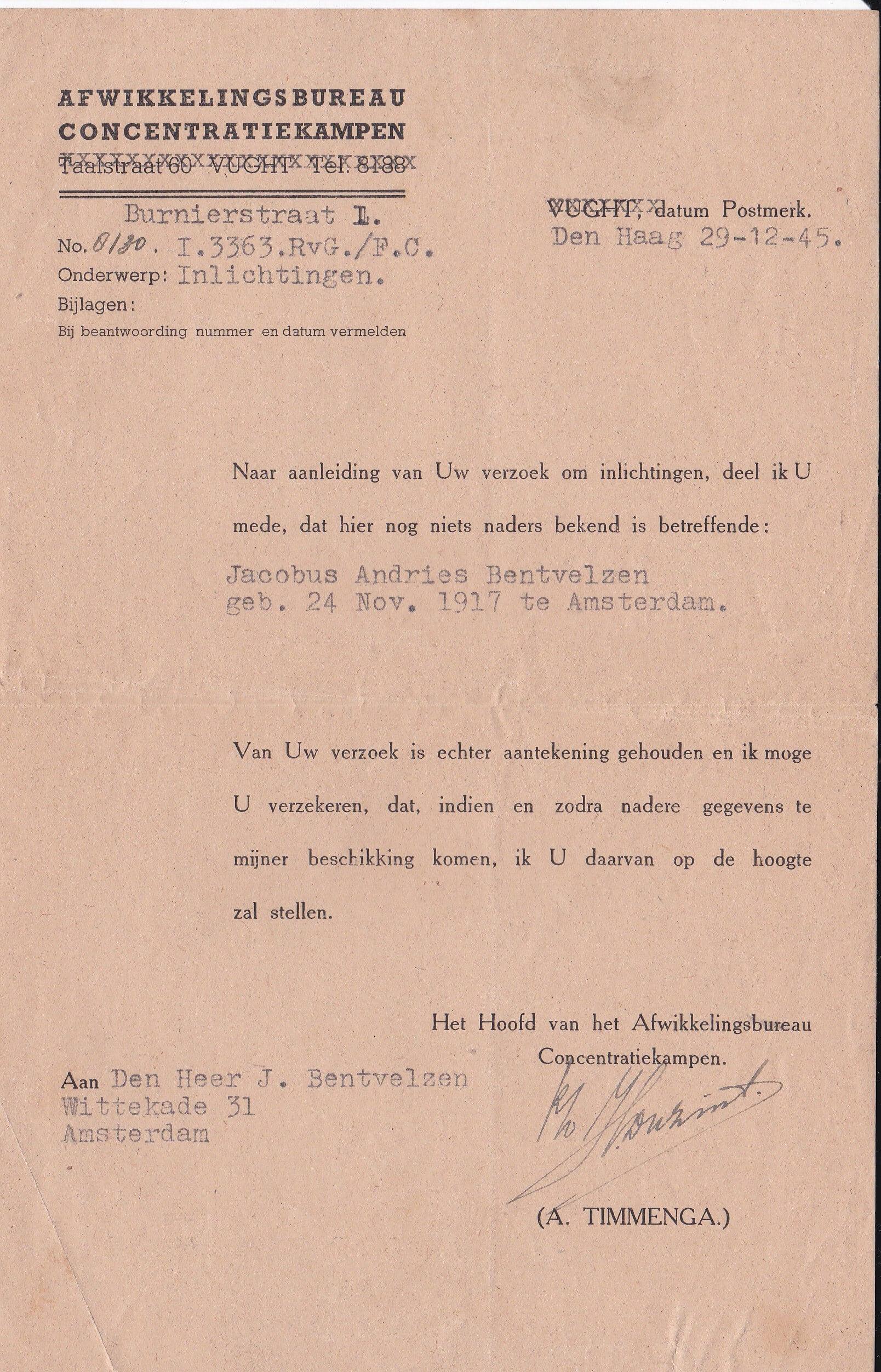afwikkelingsbureau concentratiekampen 29-12-1945