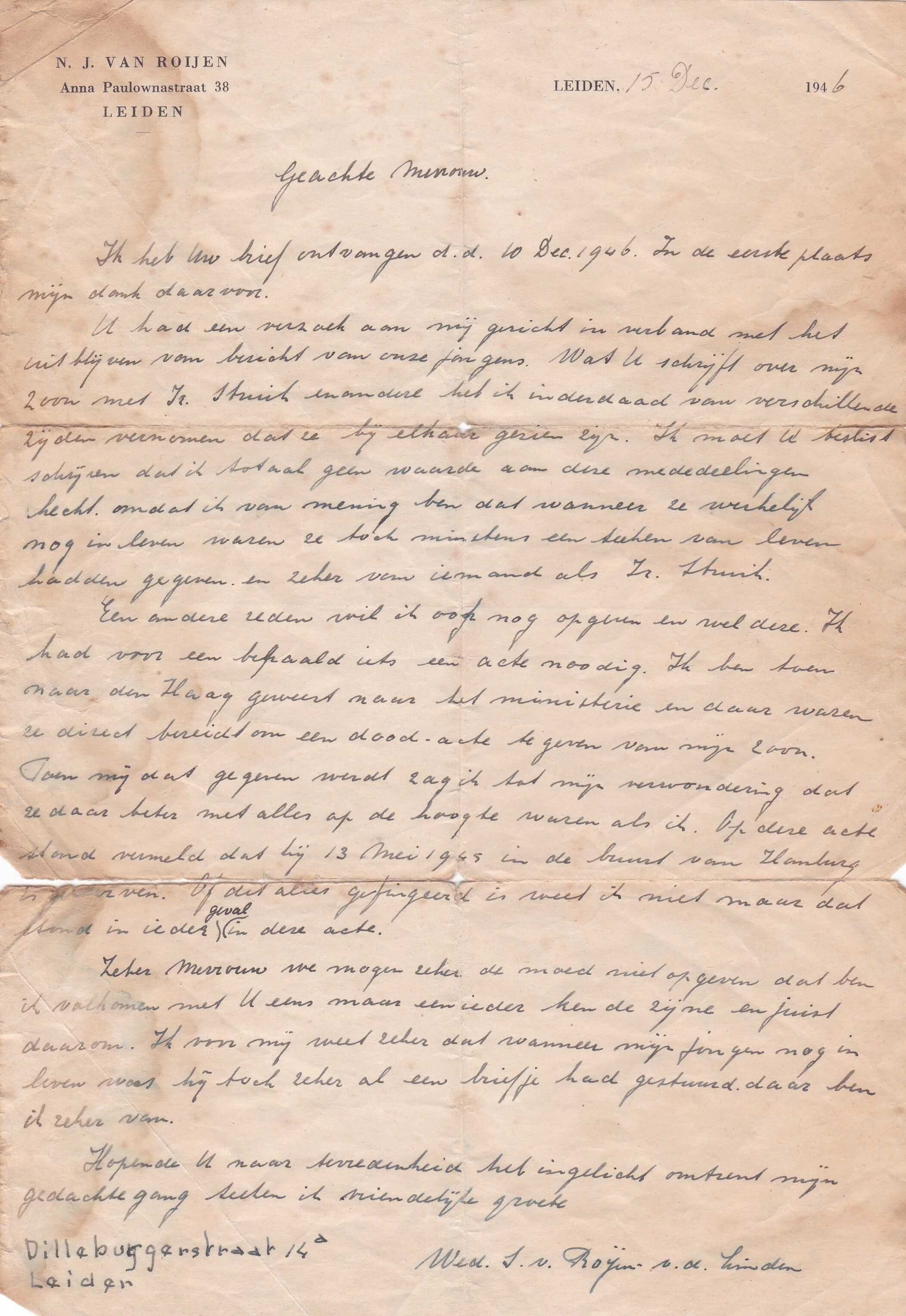 brief weduwe van Roijen-vd linden 15-12-1946