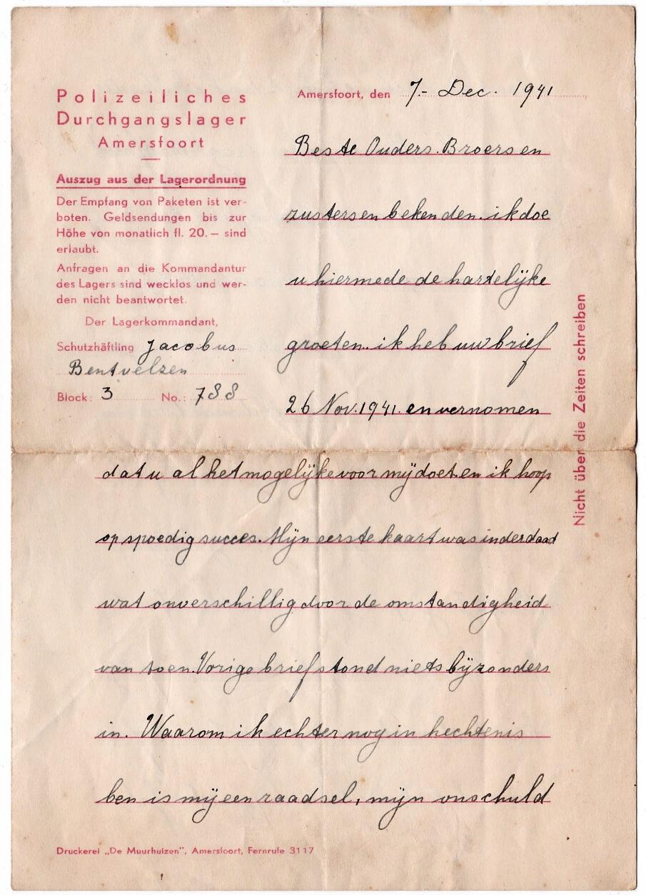 brief uit kamp Amersfoort