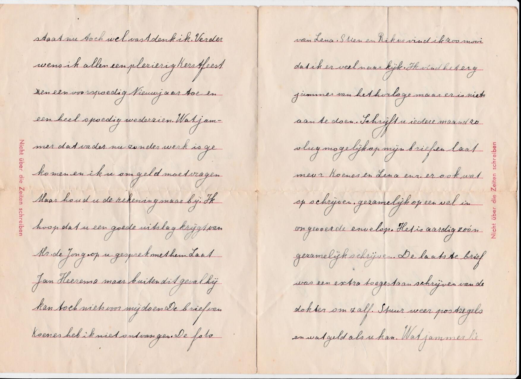 brief uit concentratiekamp