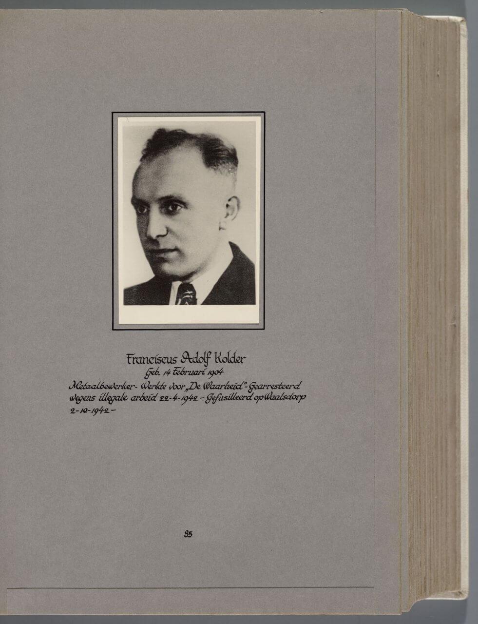 Doodenboek Fransicus Adolf Kolder oranjehotel Waalsdorpervlakte