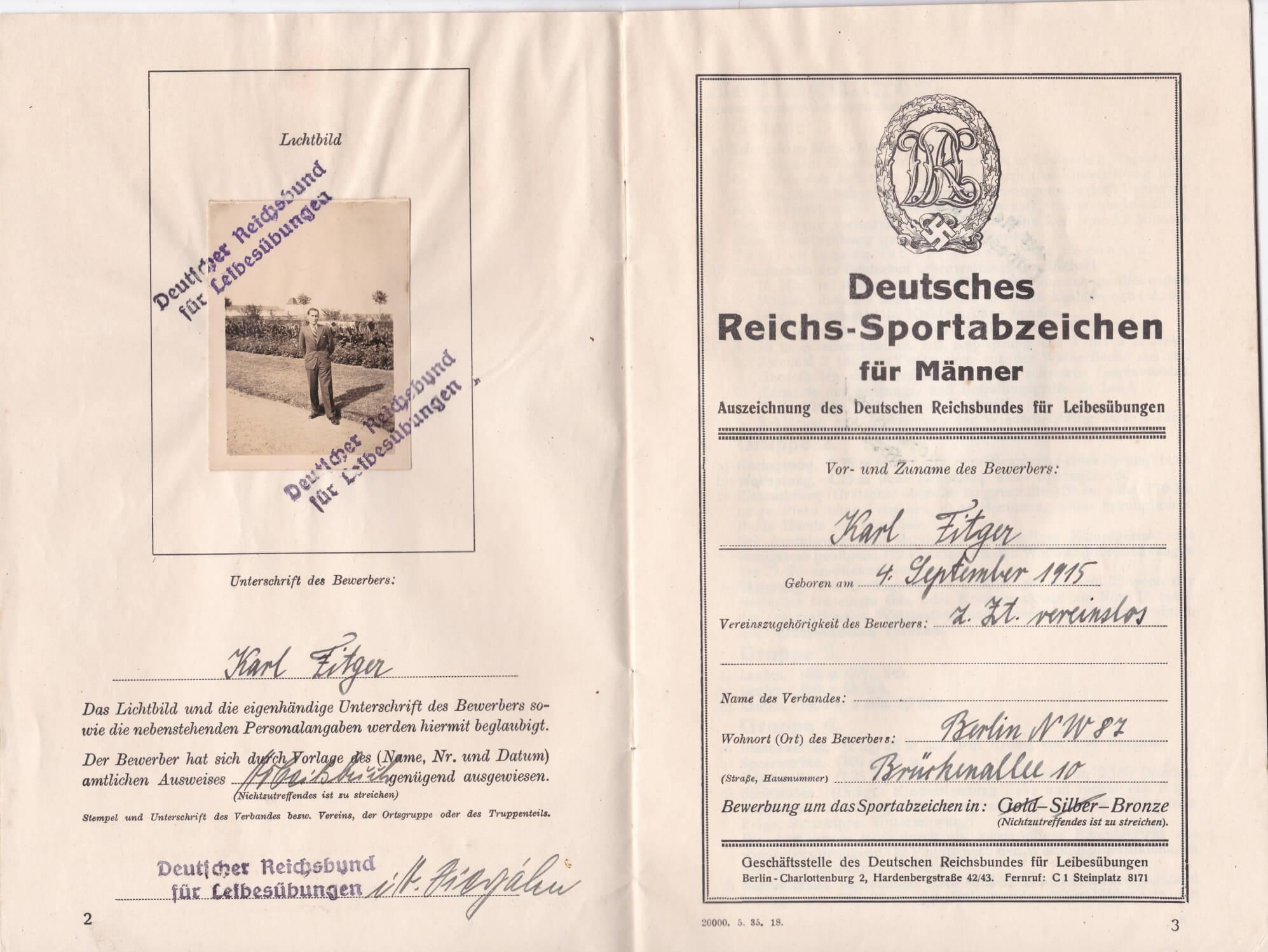 Reichssportabzeichen Deutscher Reichsbund fur Leibesubungen