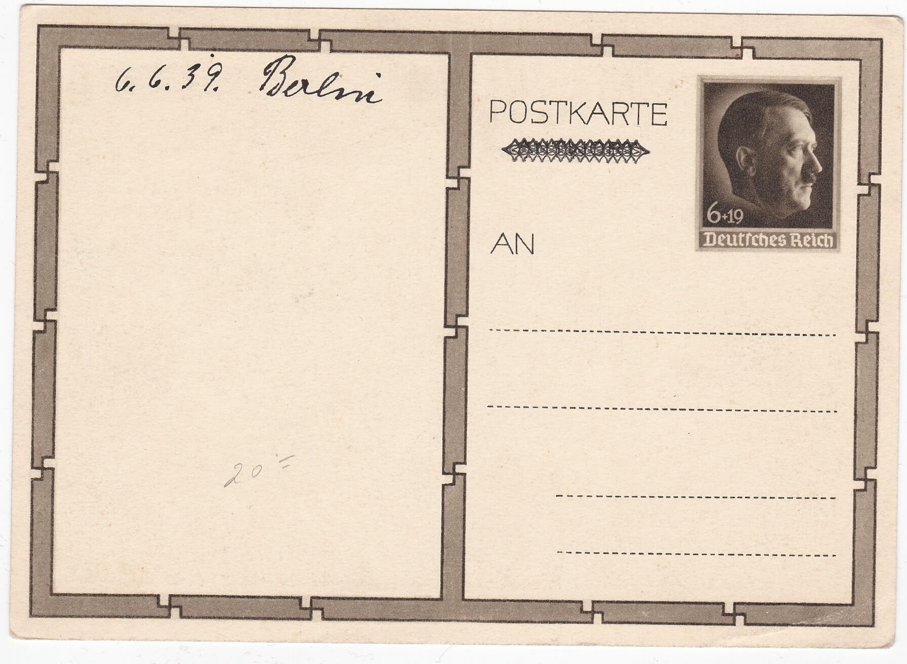 postkarte adolf Hitler