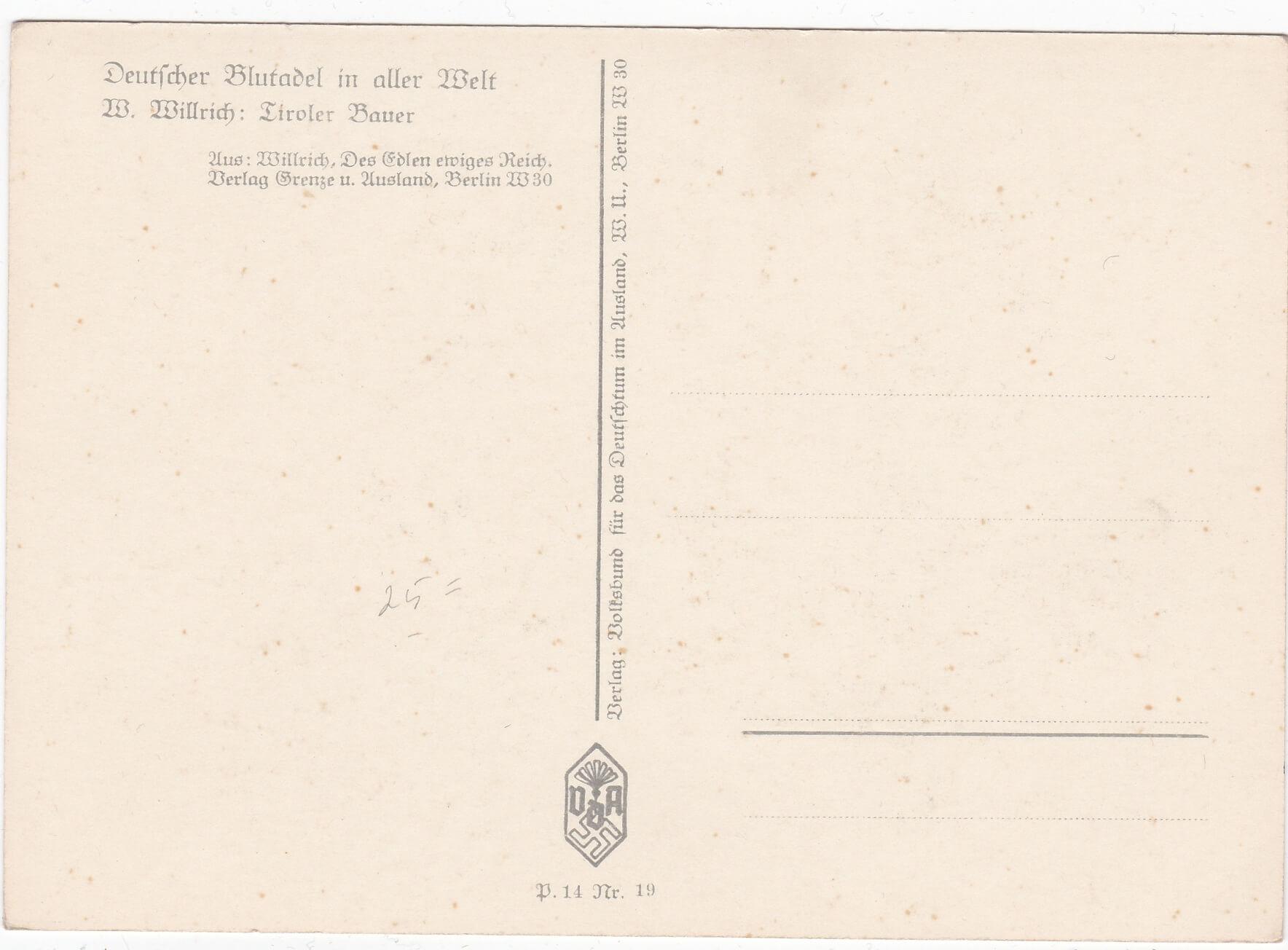 Postkaart blutadel met hakenkruis