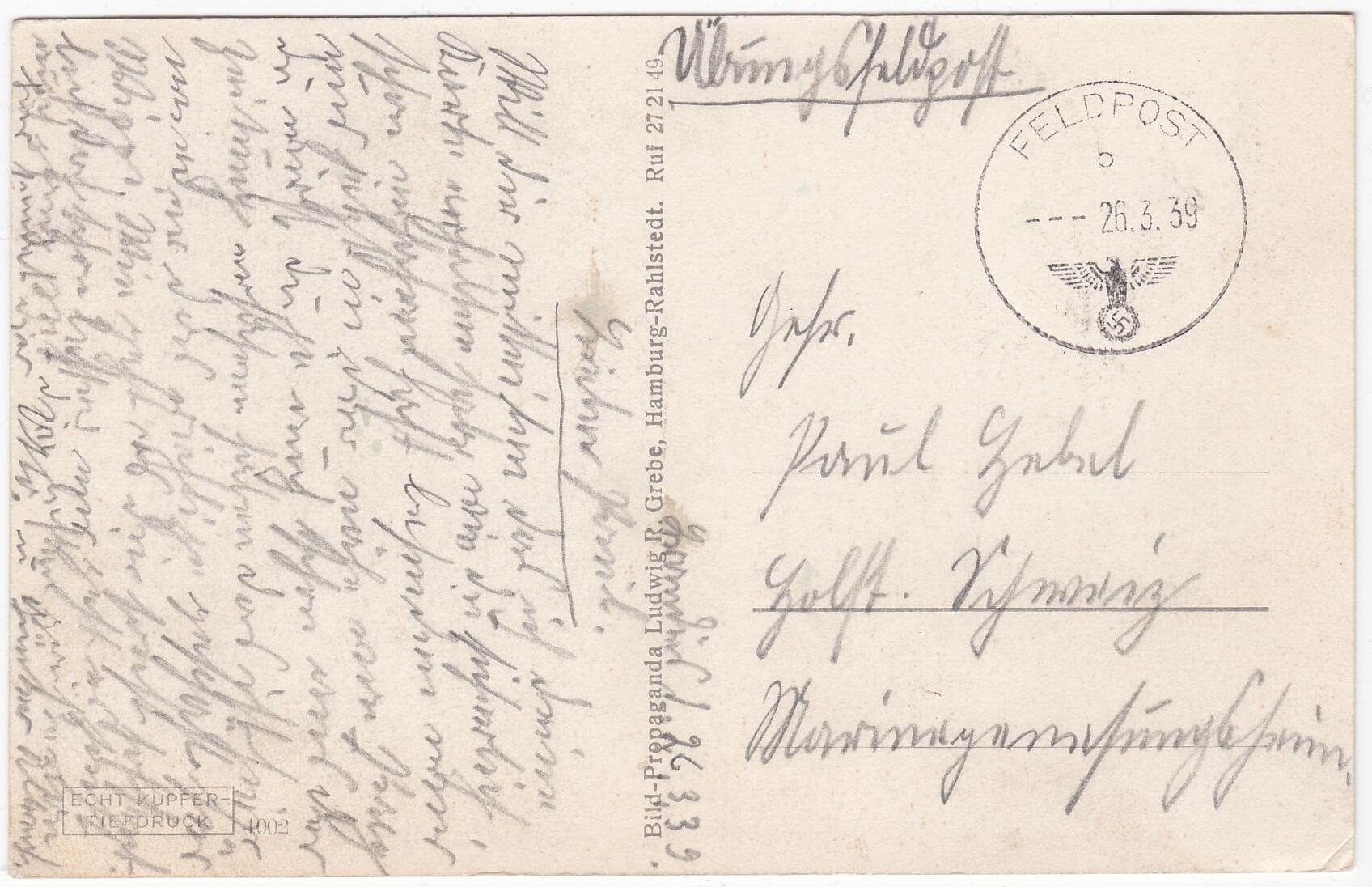 Feldpost osten 1939 26 3 kaart