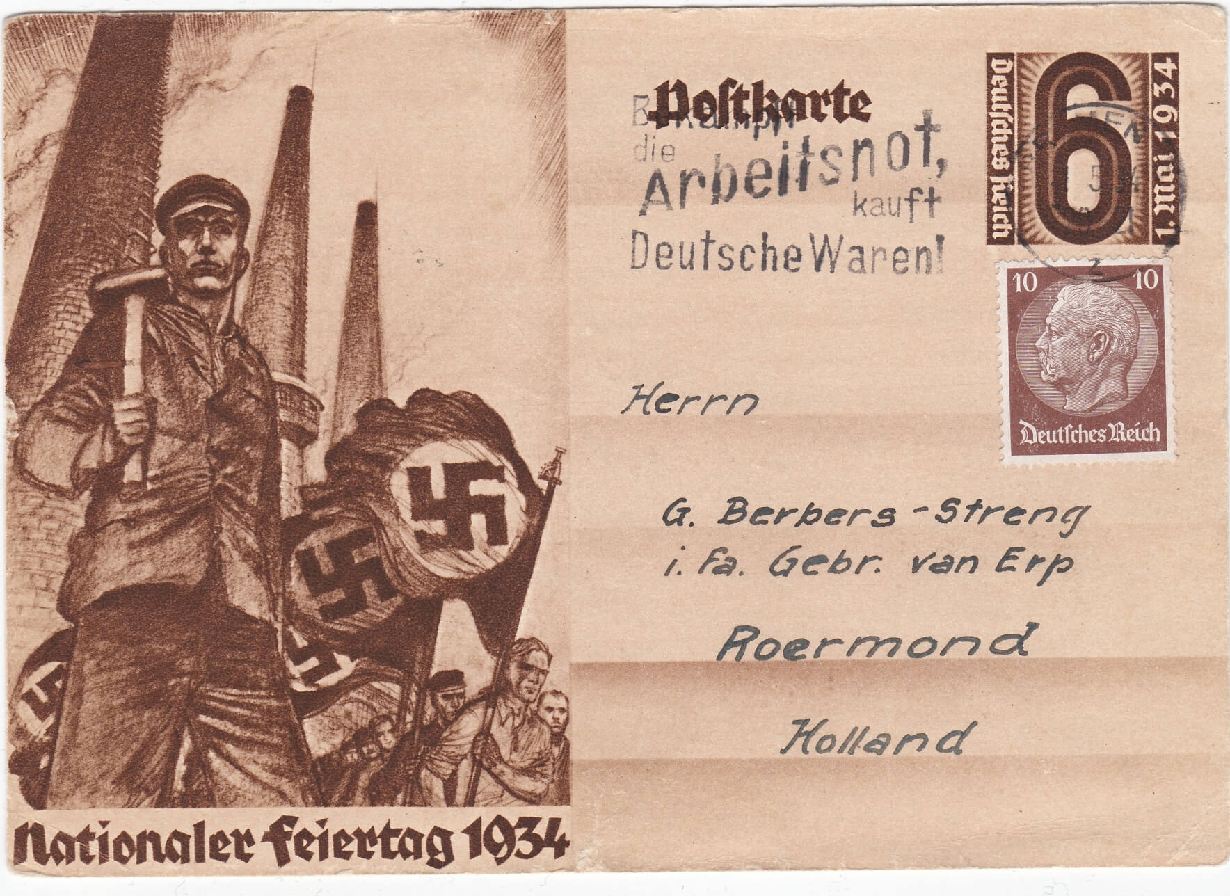 Nationaler Feiertag 1934 postkaart