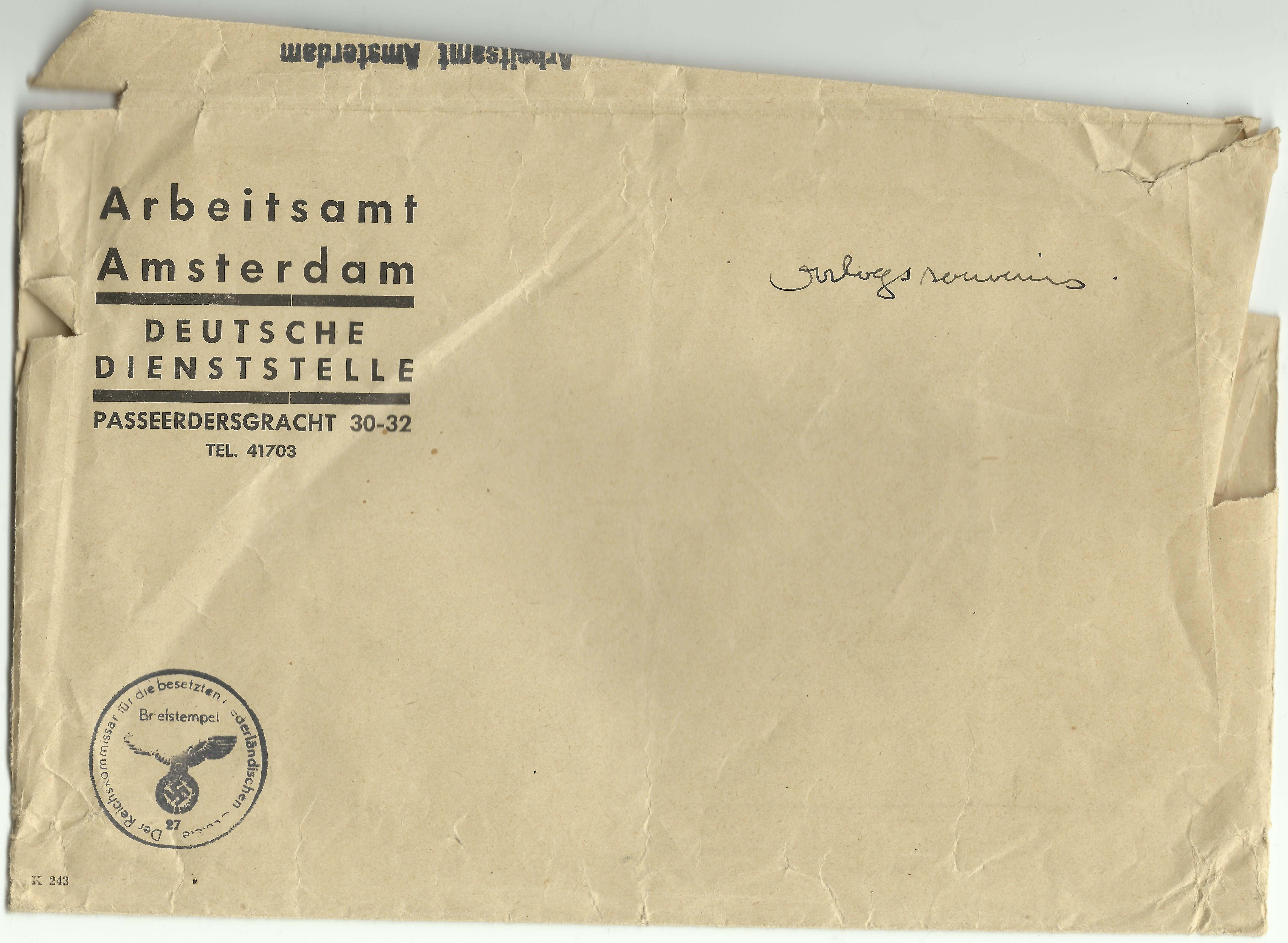 Duitse Arbeitsamt envelop uit de tweede wereldoorlog wo2 verzameling Amsterdam