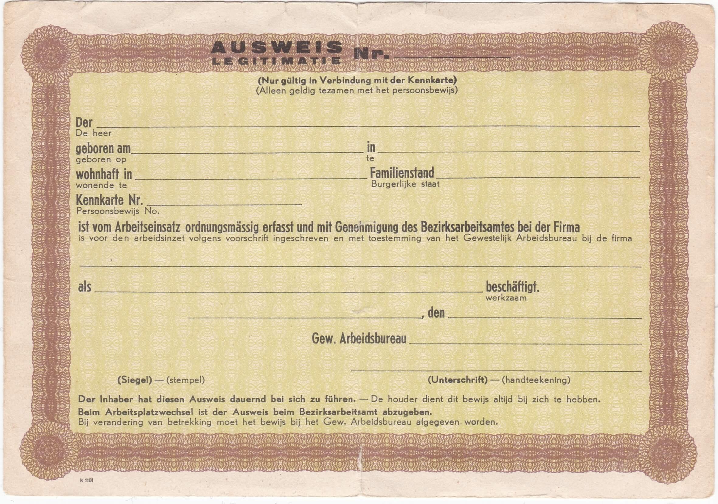 Ausweis uit de tweede wereldoorlog