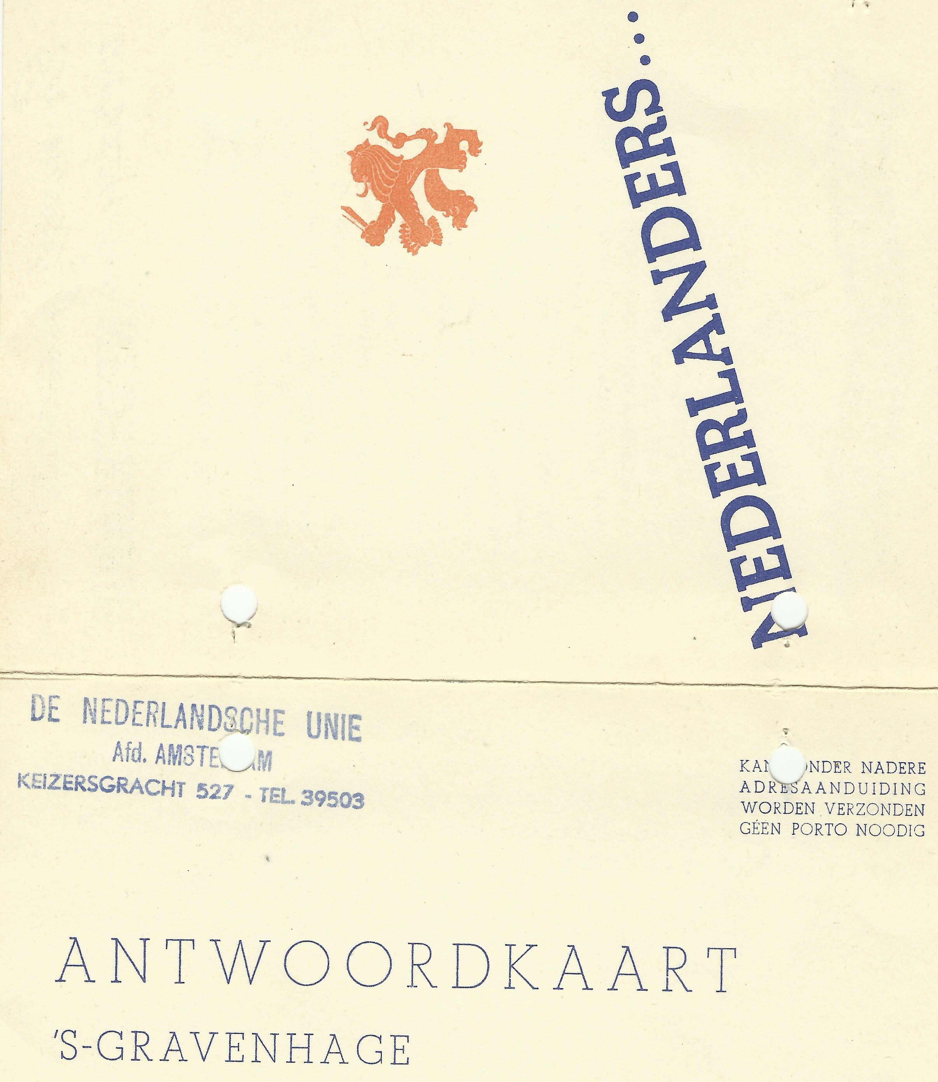De Unie. De Nederlandse unie De tweede wereldoorlog wo2 verzamelaars verzamelingen