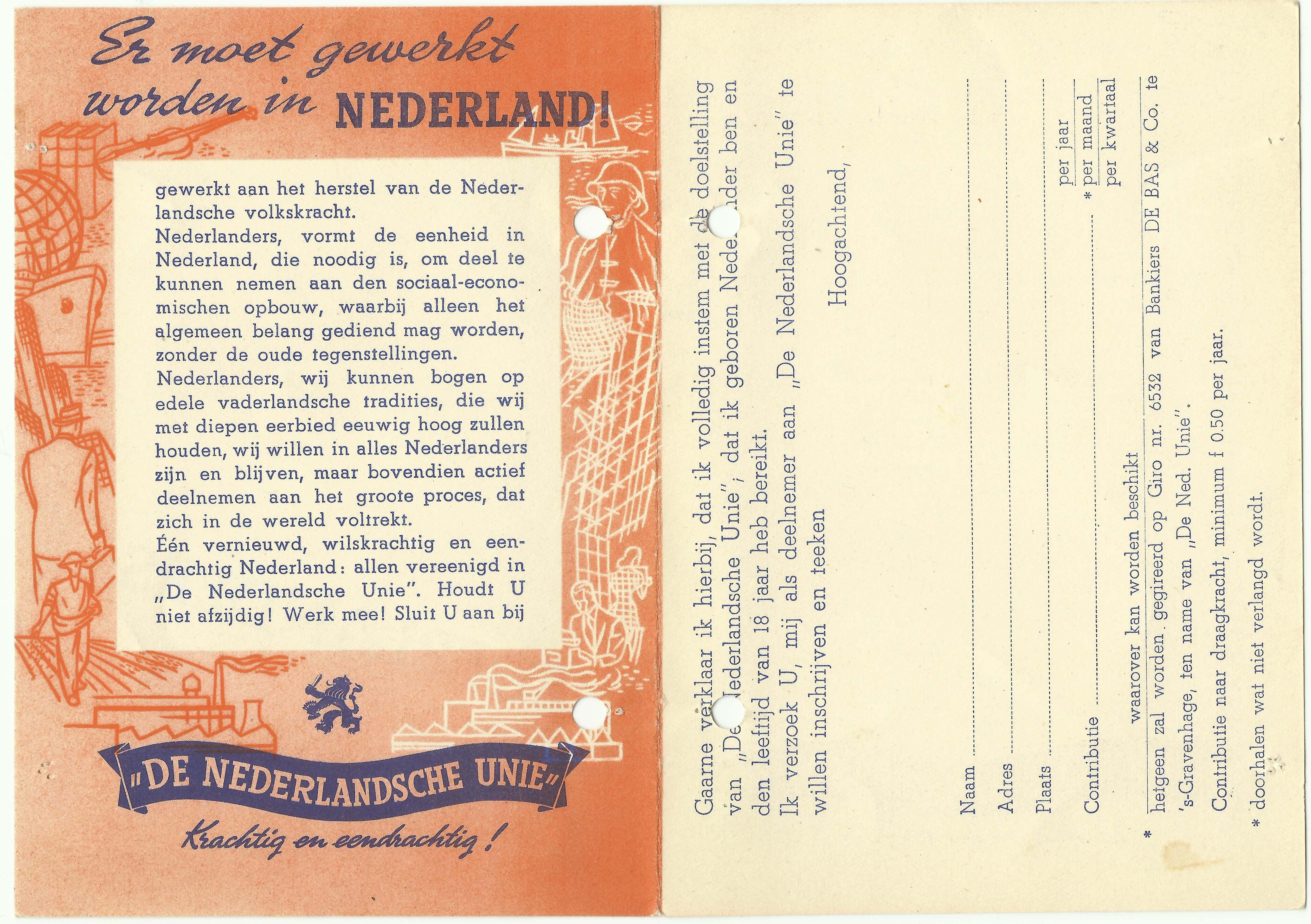 De Unie. De Nederlandsche unie De tweede wereldoorlog wo2