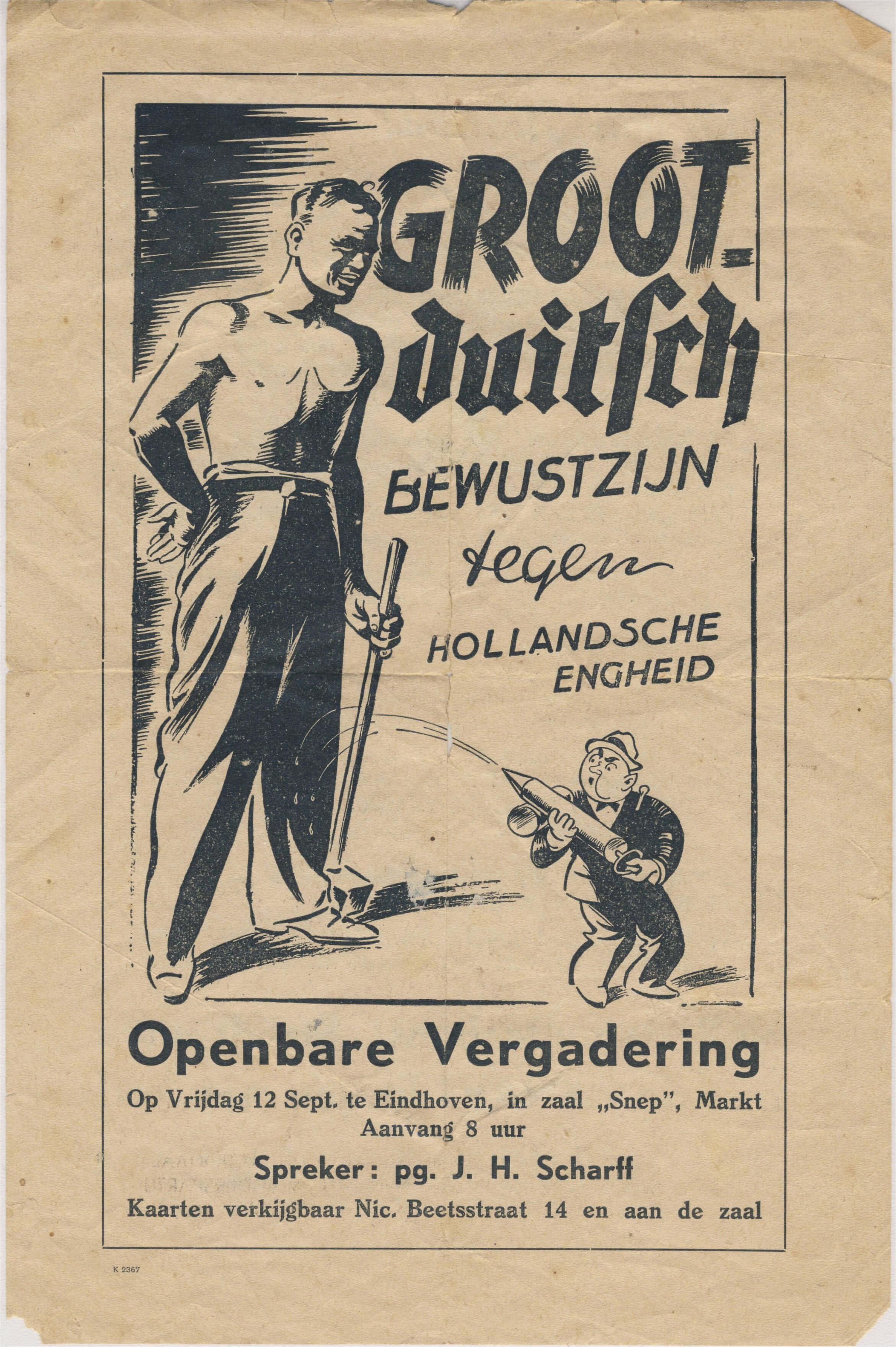 Pamflet Groot Duitsch bewustzijn Wo2 affiche