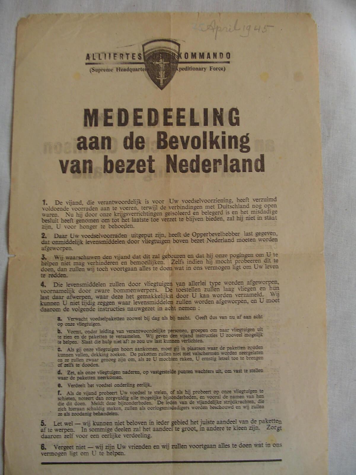 Mededeling aan de bevolking van bezet Nederland 1944 pamflet