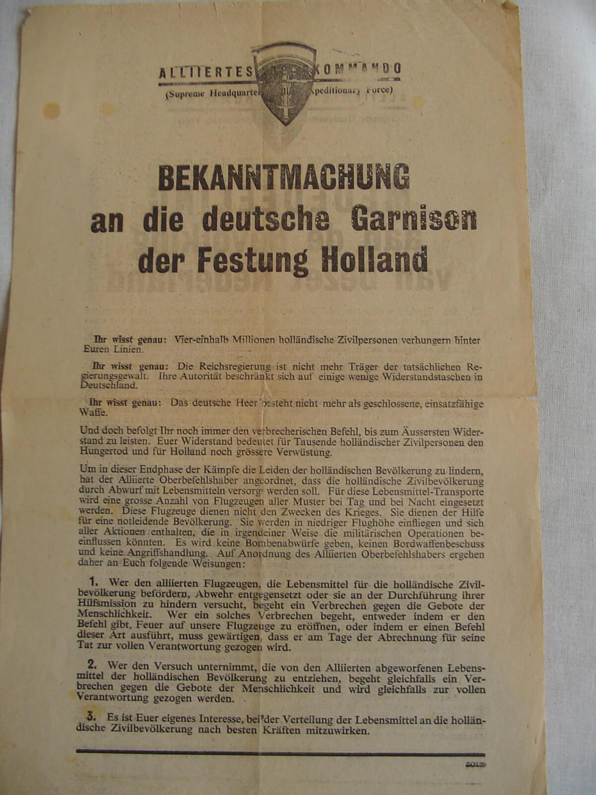 Bekanntmachung an die Deutsche Garnison der Ferstung Holland strooi pamflet wo2