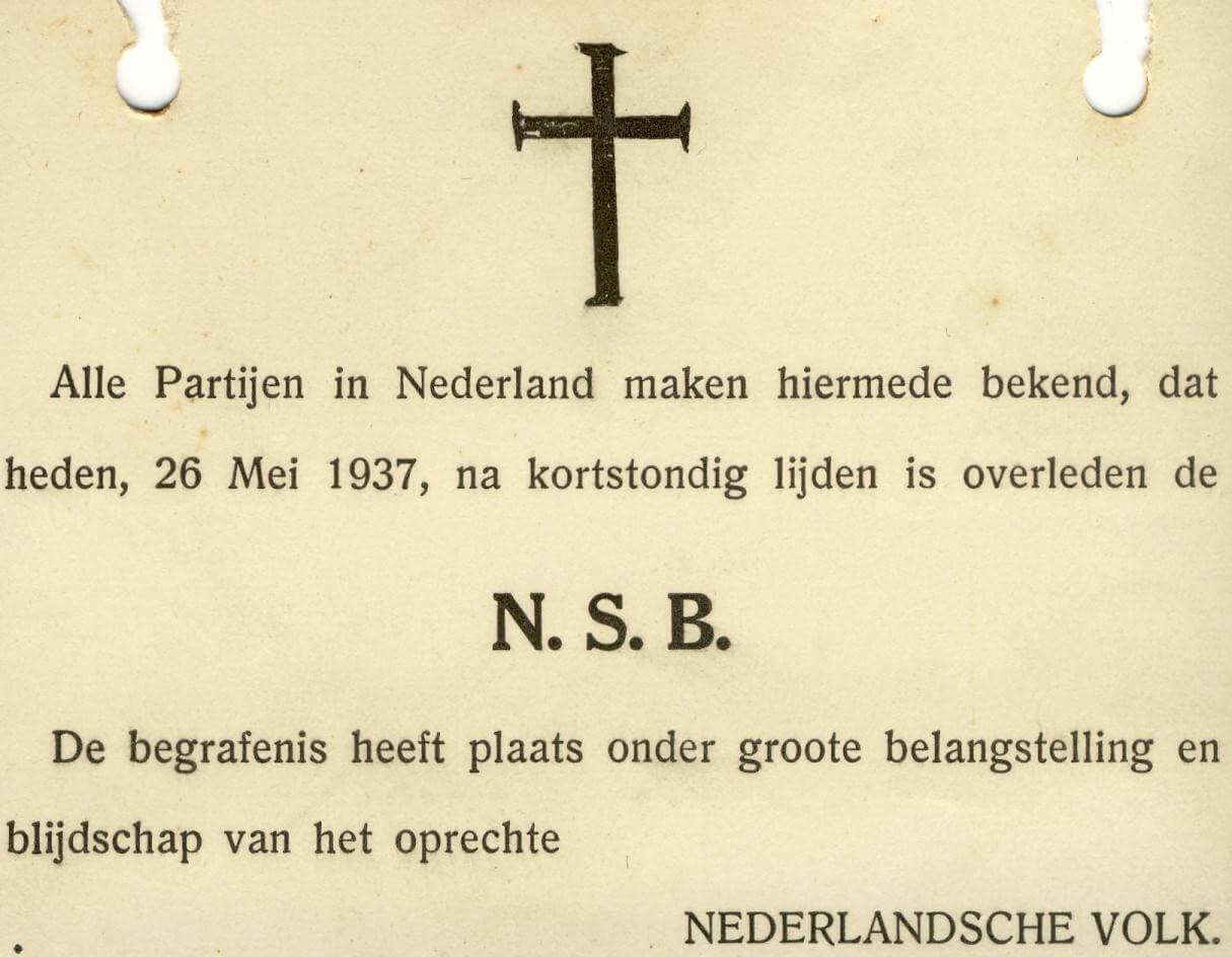 Spot bidprentje NSB uit de tweede wereldoorlog