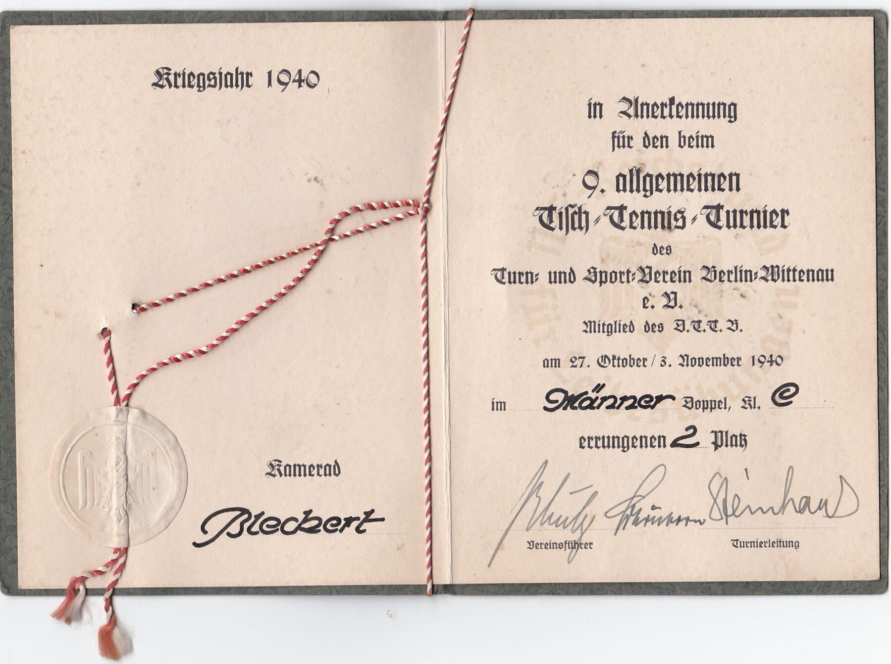 Kriegsjahr 1940 tisch tennis turnier