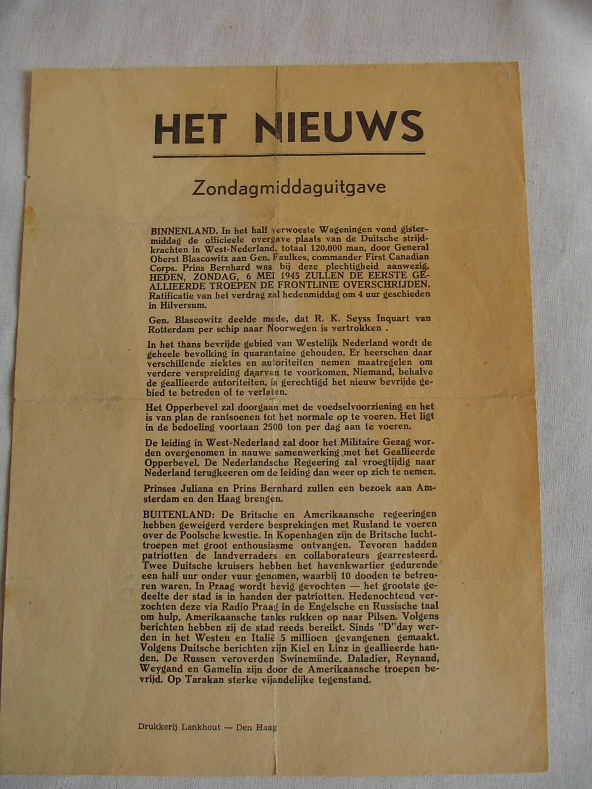 Kranten bevrijding de tweede wereldoorlog krant wo2 1945 Het Nieuws