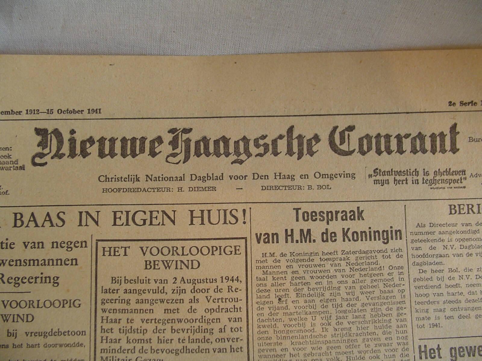 Kranten bevrijding de tweede wereldoorlog krant wo2 1945