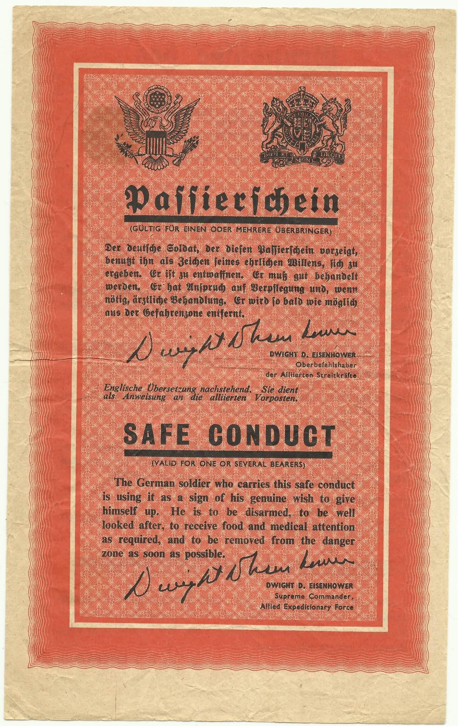 Pamflet uit de tweede wereldoorlog Passierschein voor veilige overgave