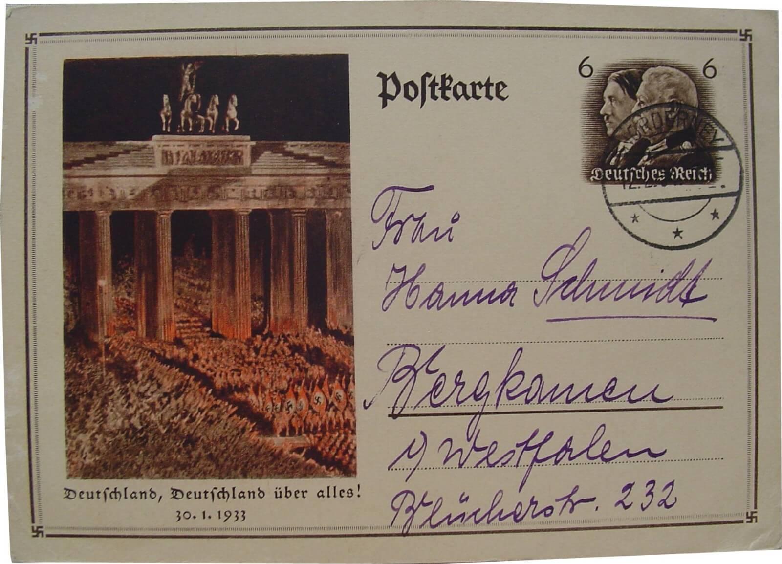 Duitse propaganda postkaart 1934 Wo2 de tweede wereldoorlog