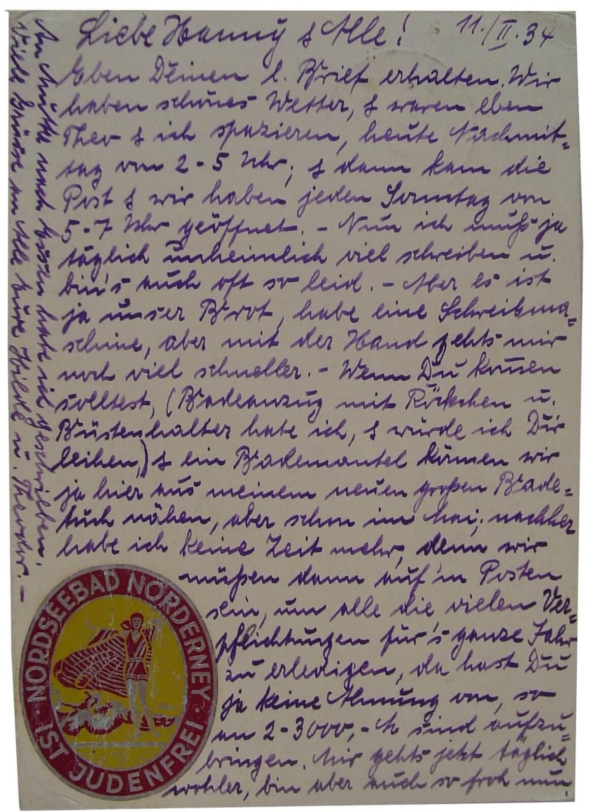 Duitse propaganda postkaart 1934 Wo2 de tweede wereldoorlog judenfrei