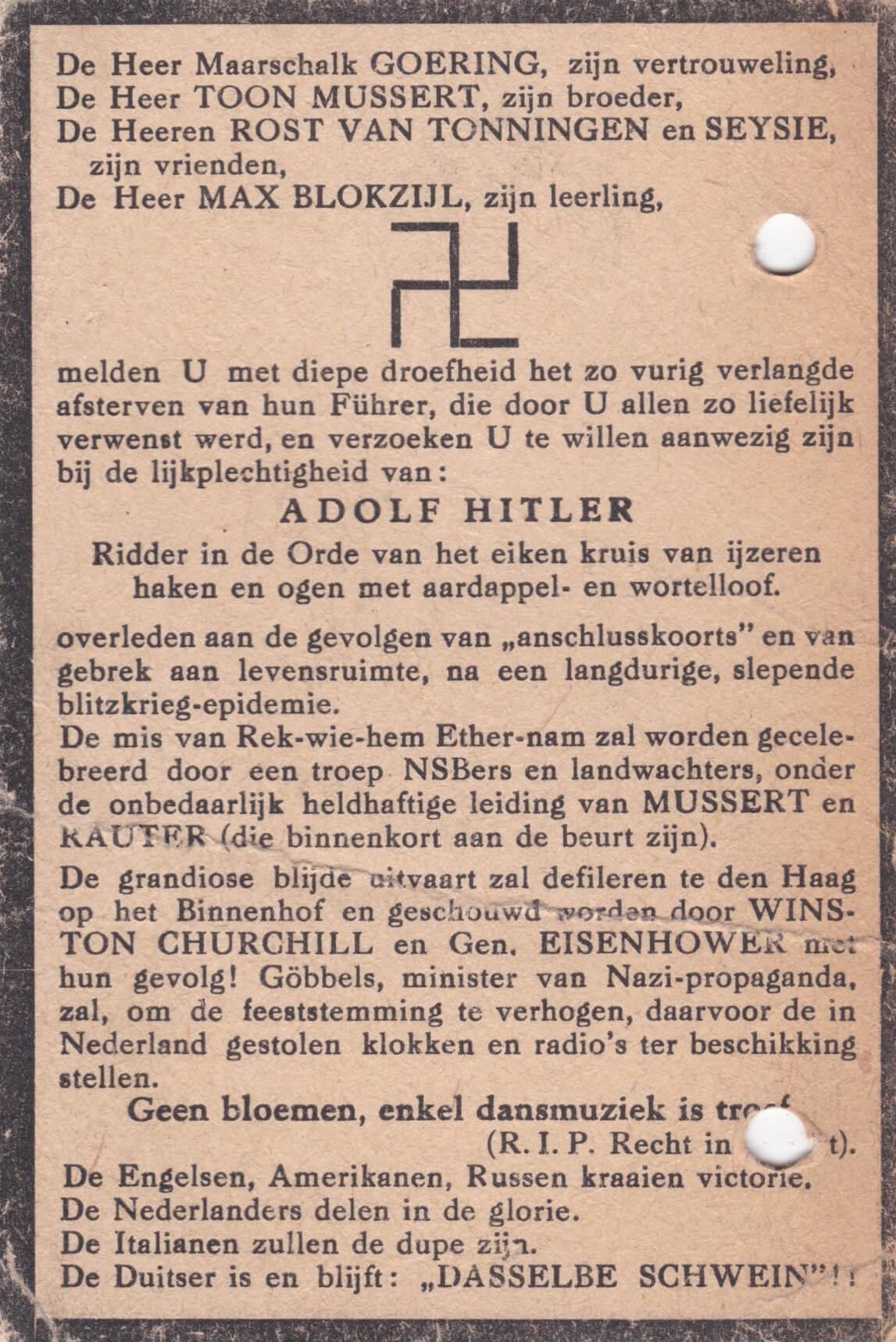 Spotprent overlijden Adolf Hitler