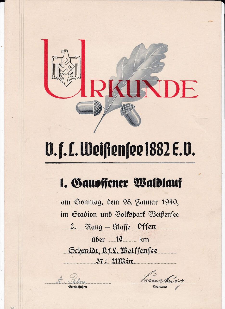 Urkunde Waldlauf wo2 Weissensee
