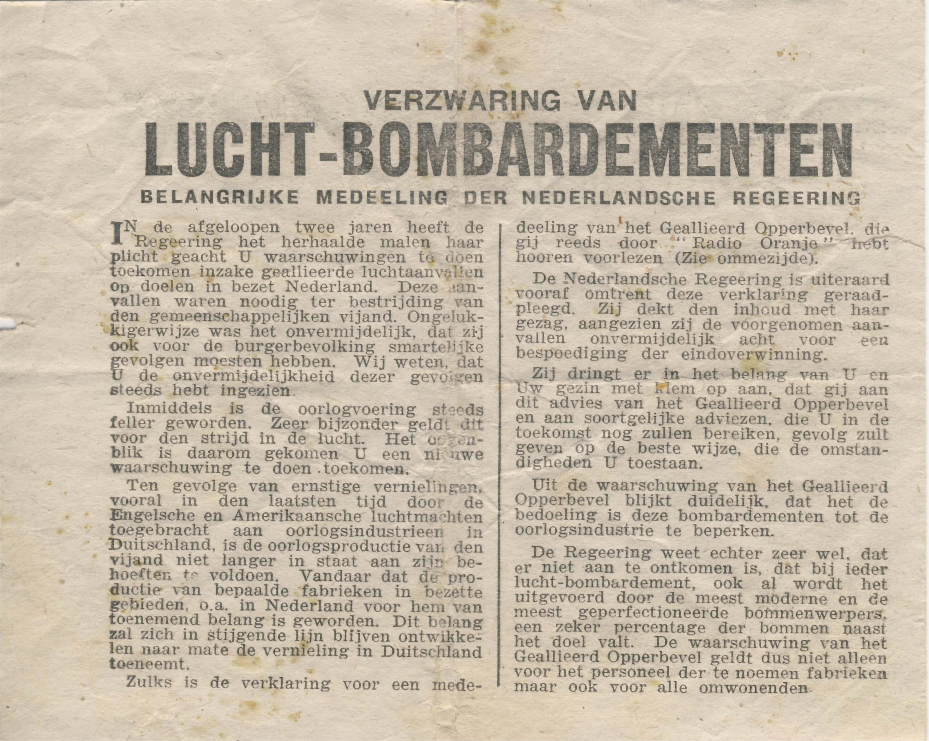 Strooi pamflet verzwaring bombardementen 1944 Wo2
