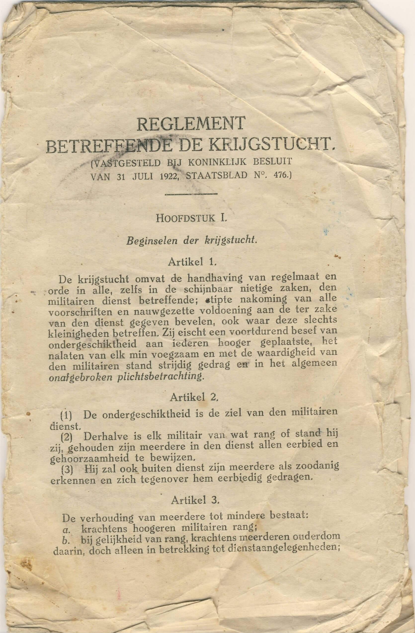 Reglement betreffende de krijgstucht wo2 de tweede wereldoorlog 1940
